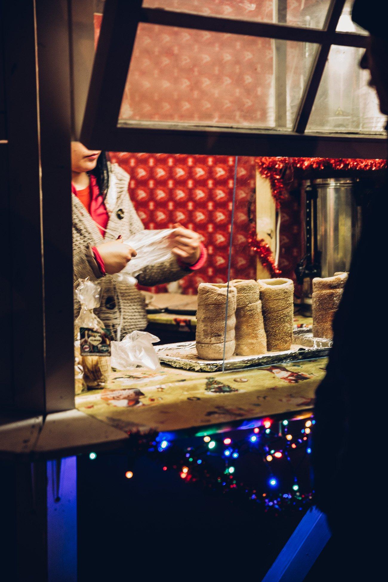 Trdelník at Christmas market Hviezdoslavovo námestie in Bratislava