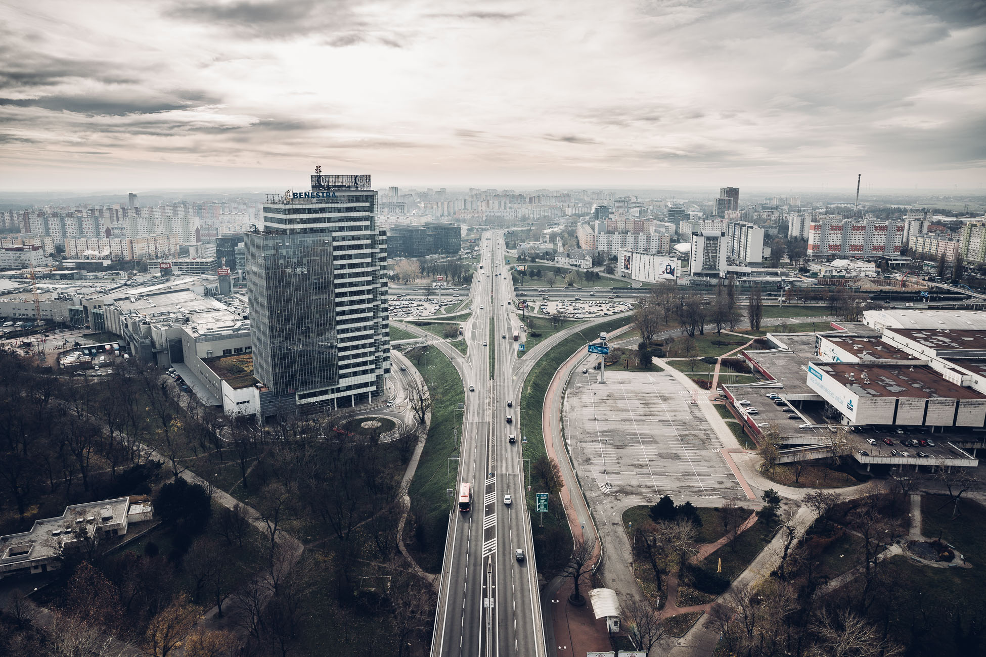 View of Petržalka Bratislava from UFO observation deck