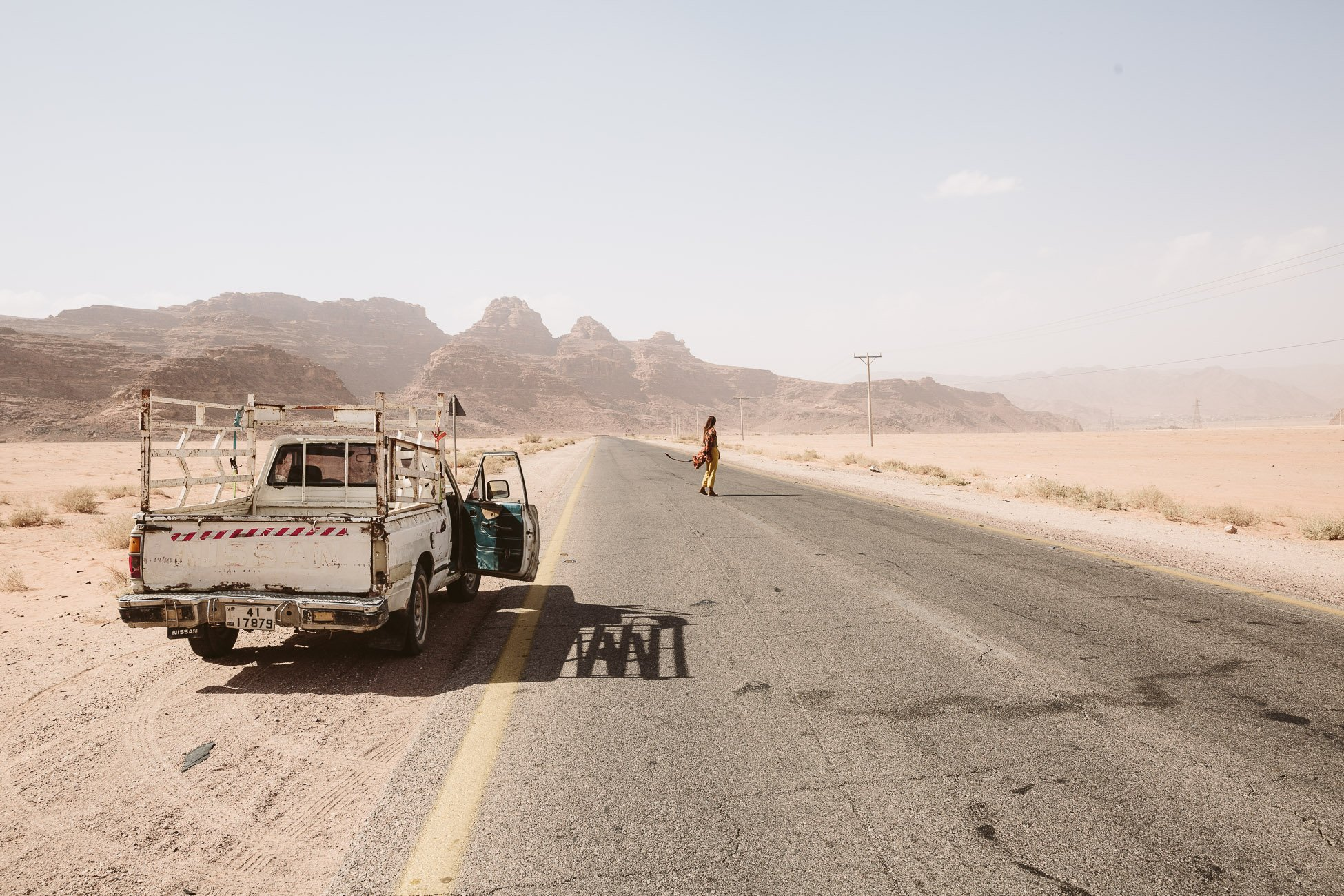 On the road through Wadi Rum