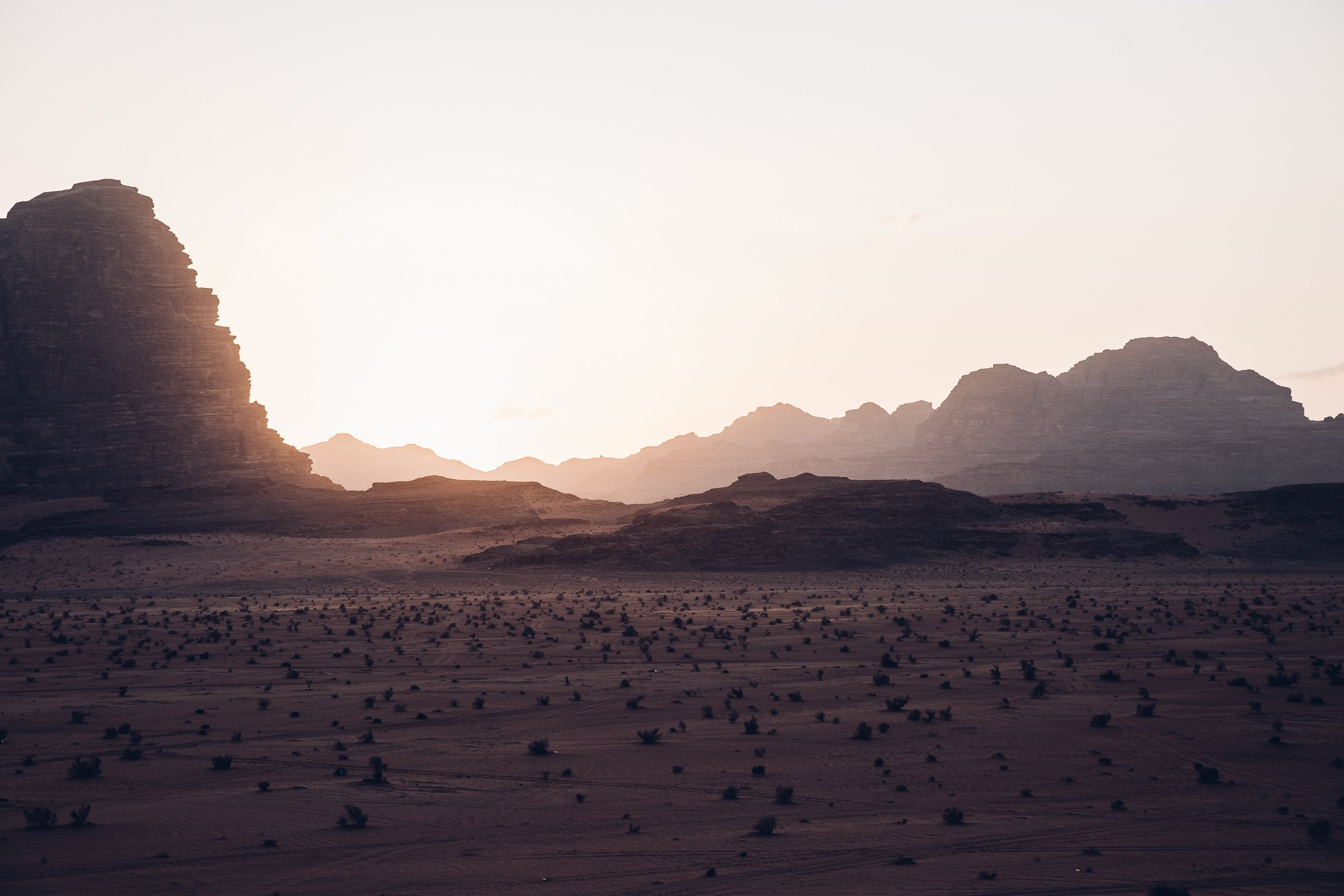 Sunset in the desert of Wadi Rum