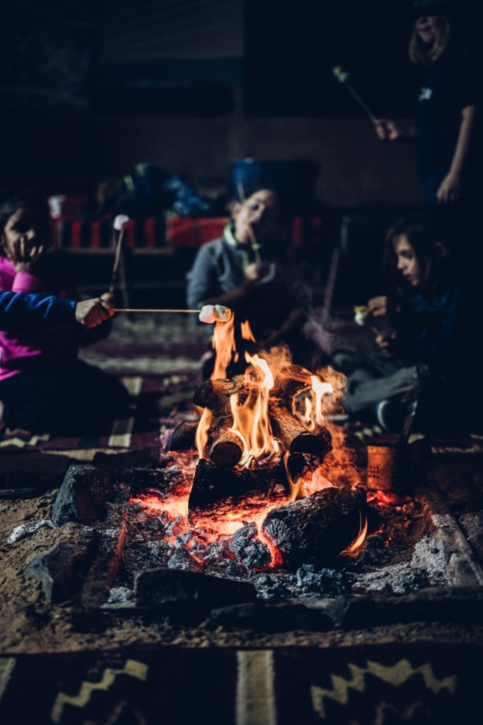 Grilling marshmallows at Hasan Zawaideh Camp in Wadi Rum