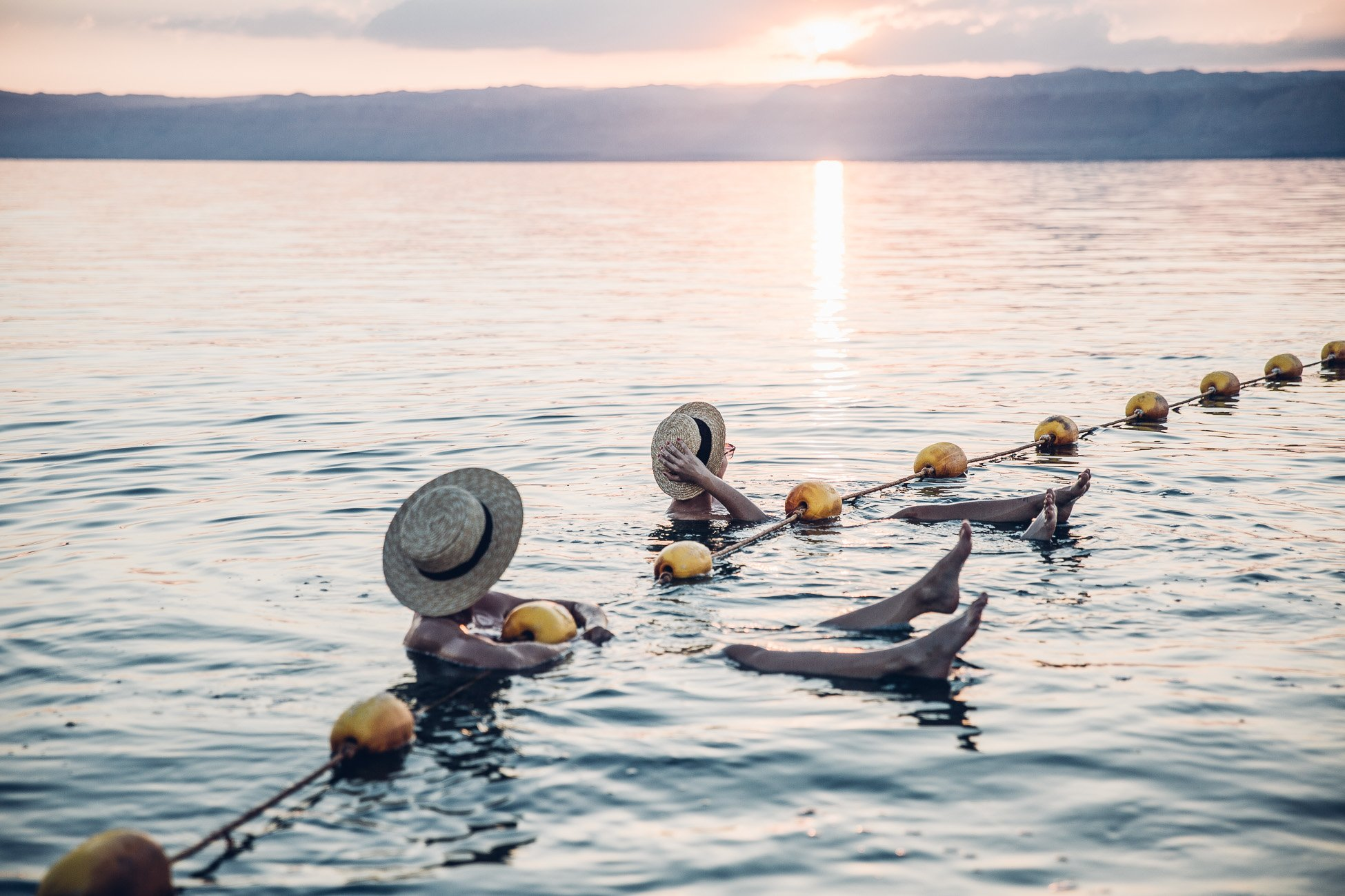 Floating in the Dead Sea at Sunset in Jordan