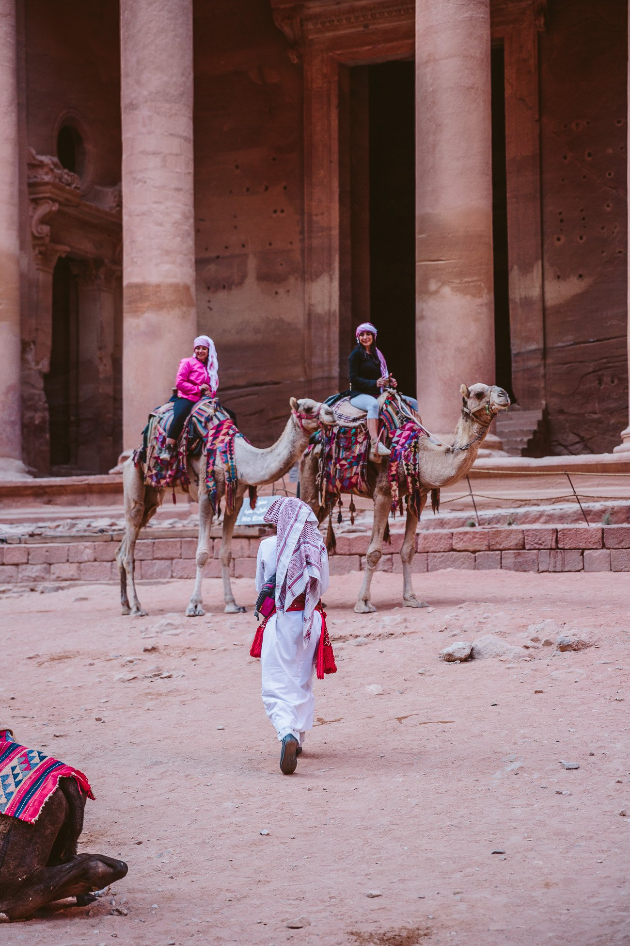 Camels in front of the Treasury in Petra Jordan