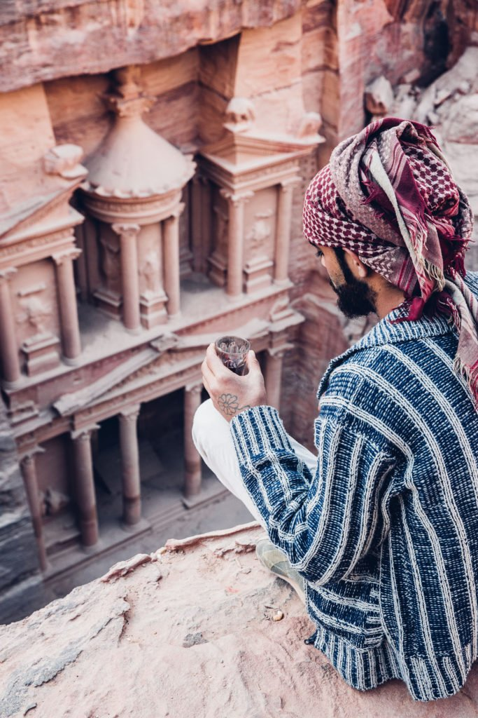 Our Bedouin guide on top of the Treasury in Petra