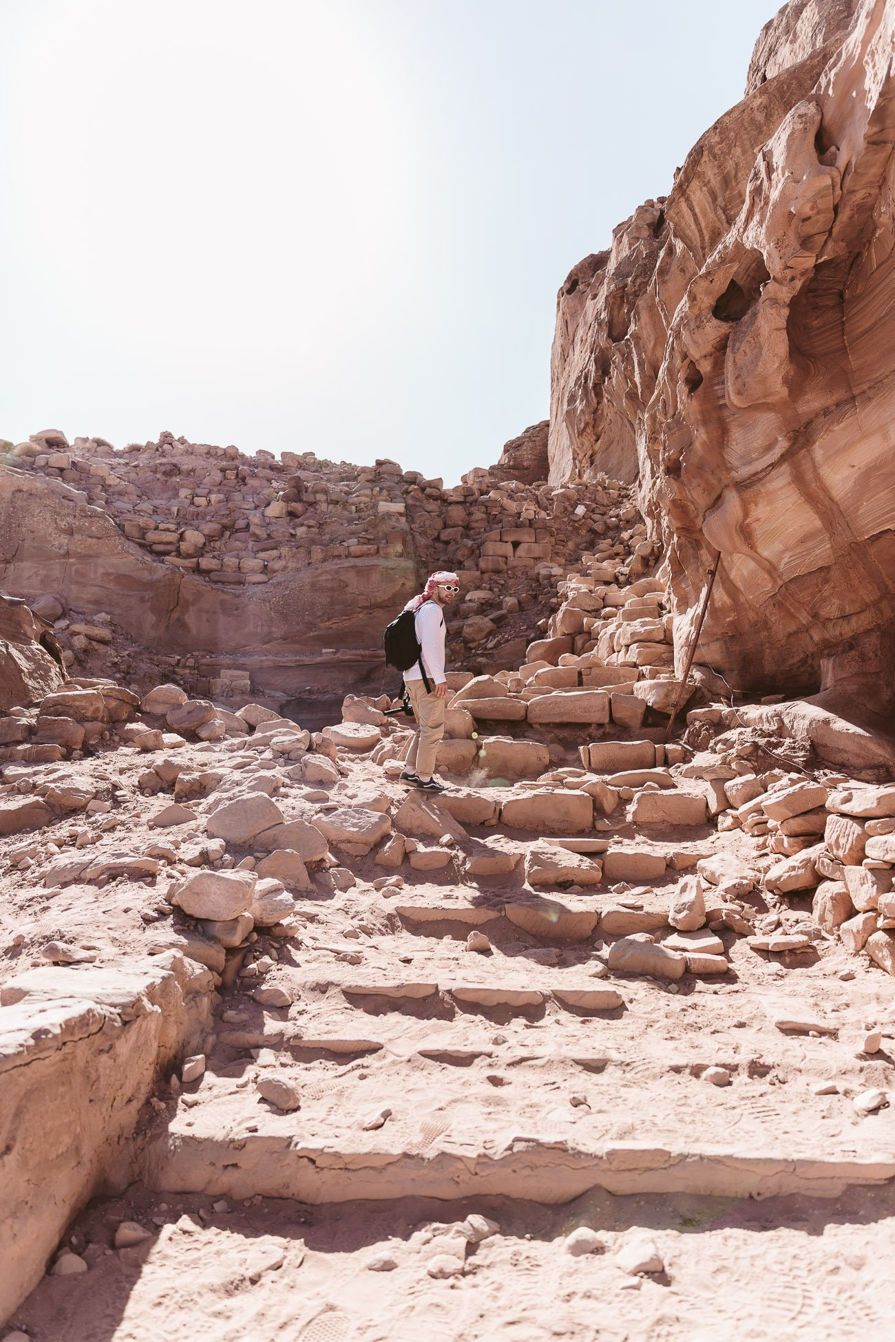Steps up to the Best view at Petra