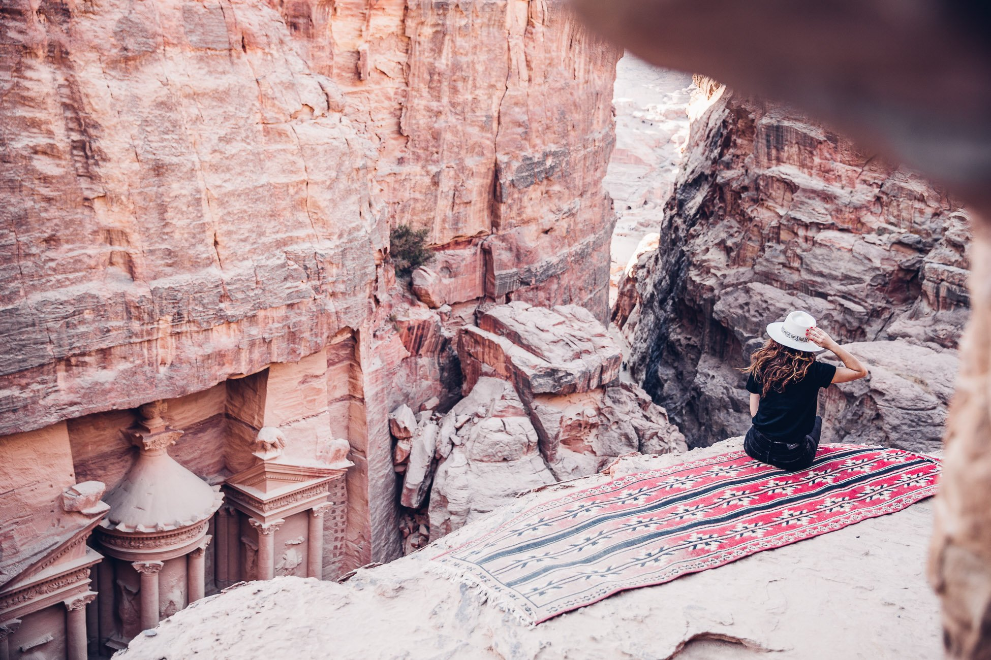 Sarah Pour at the lookout spot in Petra Jordan