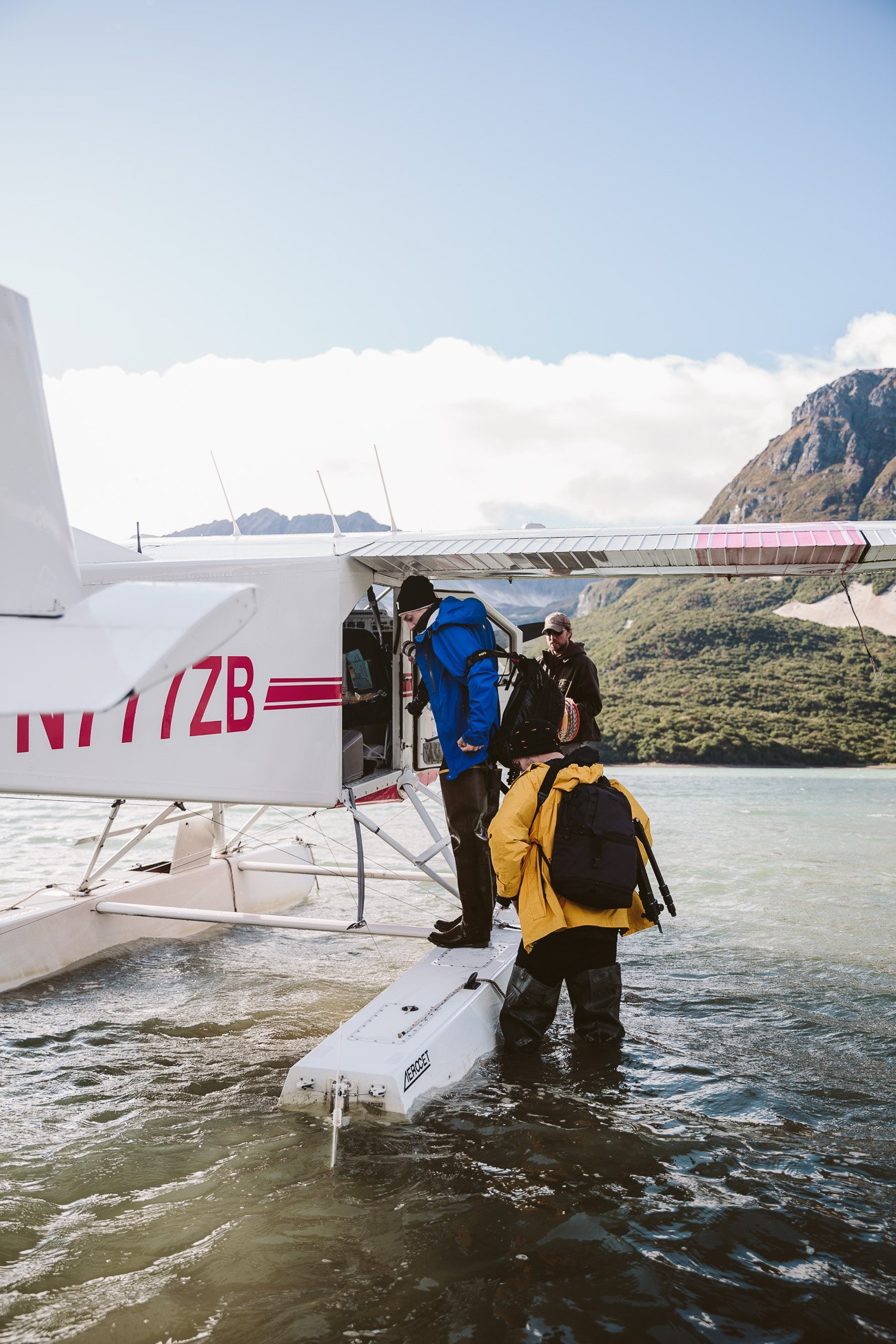 Boarding the waterplane of Kingfisher Aviation at Katmai National Park Alaska