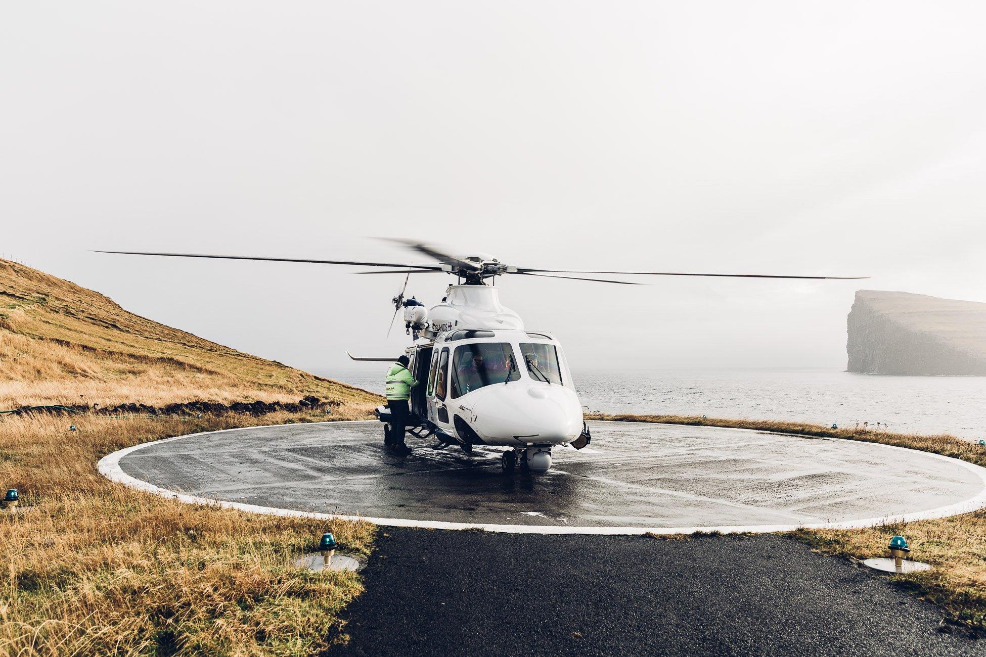 Helicopter on Fugloy Faroe Islands