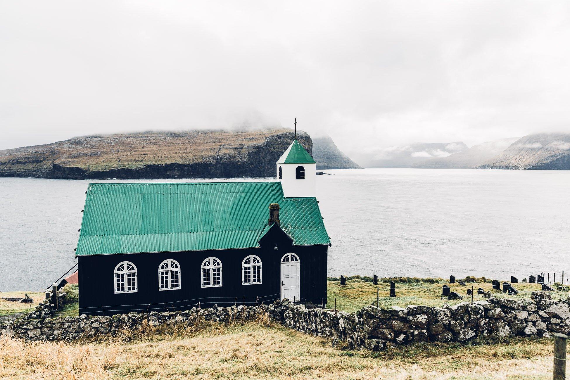 Church in Kirkja on Fugloy Faroe Island