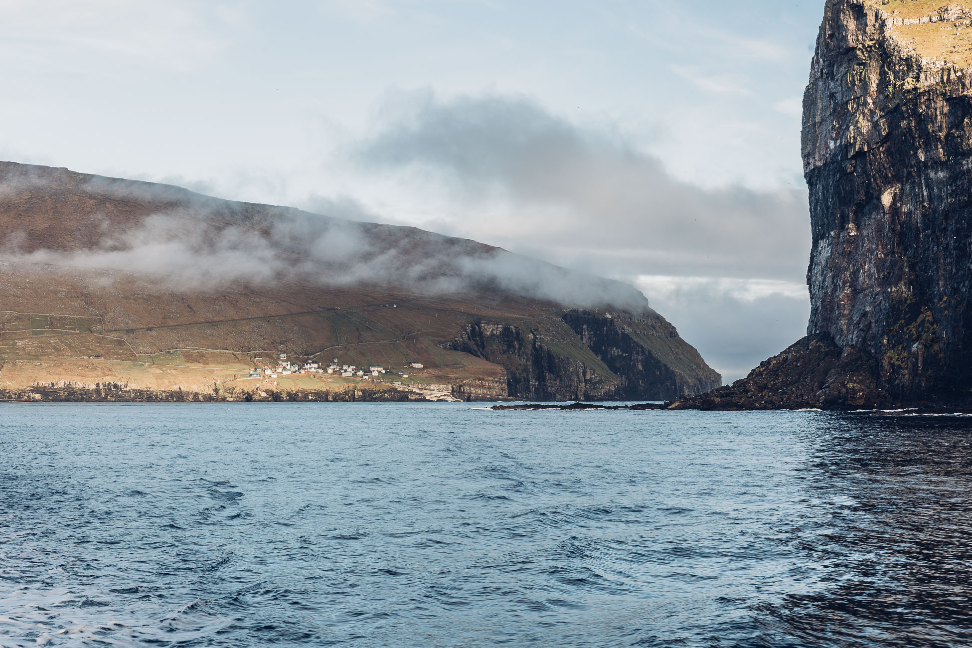 View from the ferry on the Faroe Islands