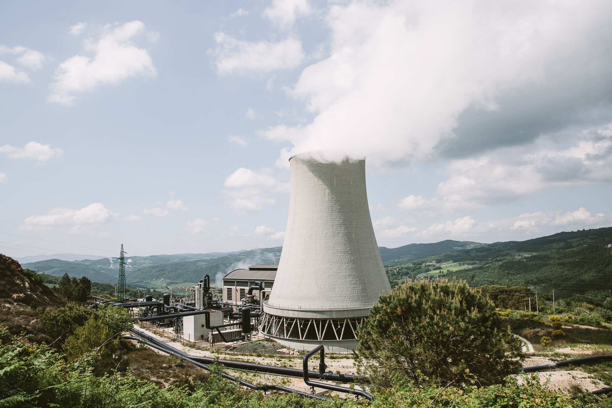 Geothermal power plant in Larderello Pomarance