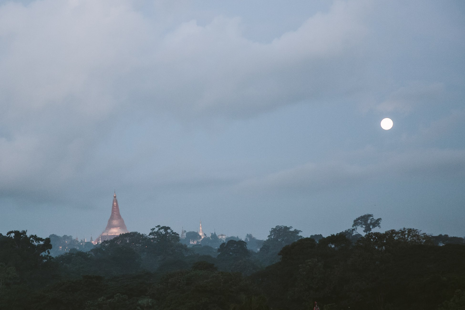 Shwedagon Pagoda at full moon