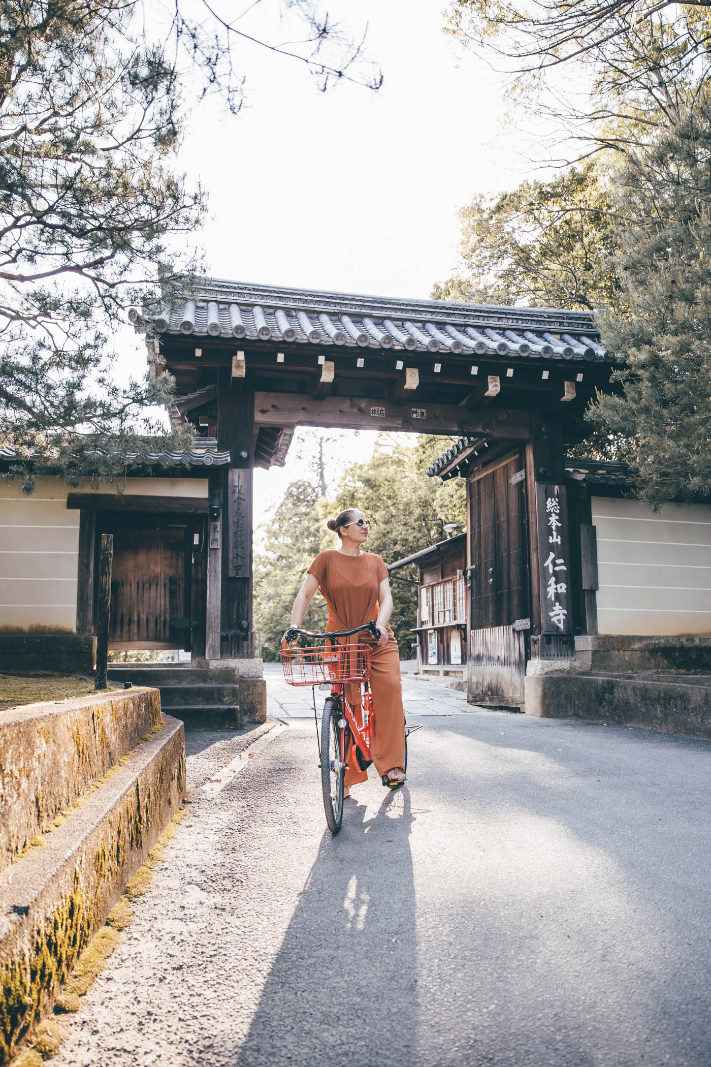 Riding a rental bicycle in Kyoto
