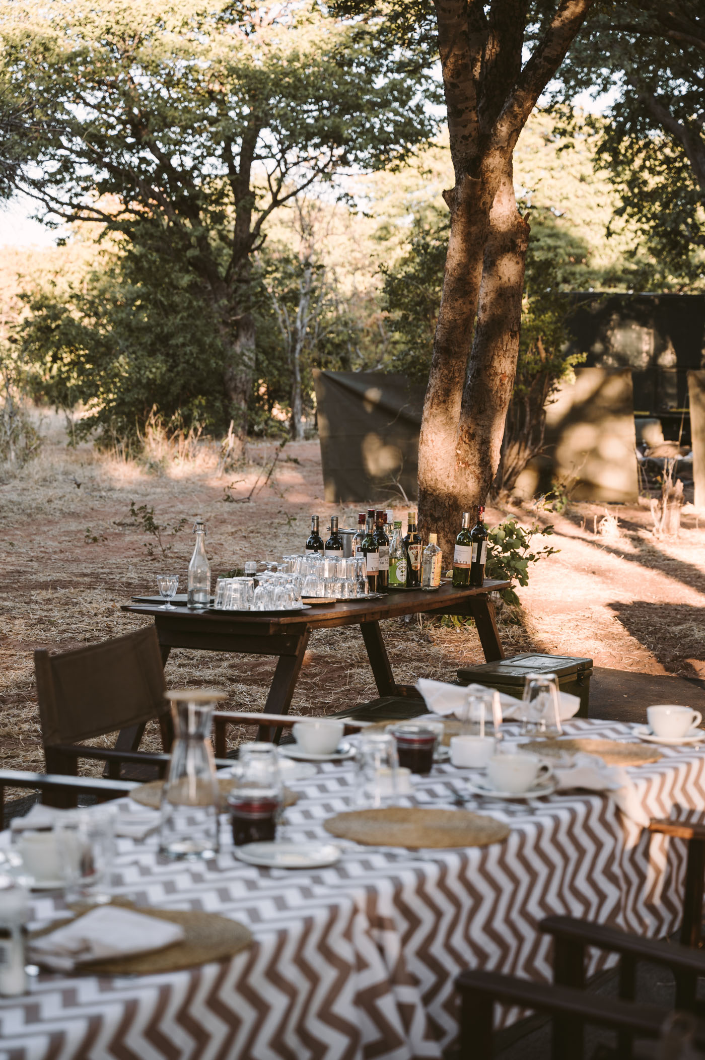 andBeyond Chobe under Canvas dinner setting