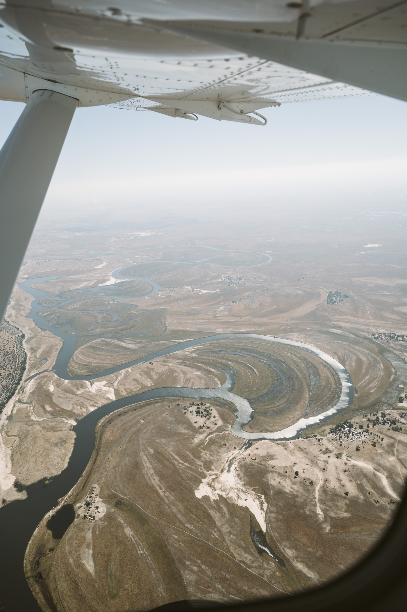 Flying into the Okavango Delta in Botswana
