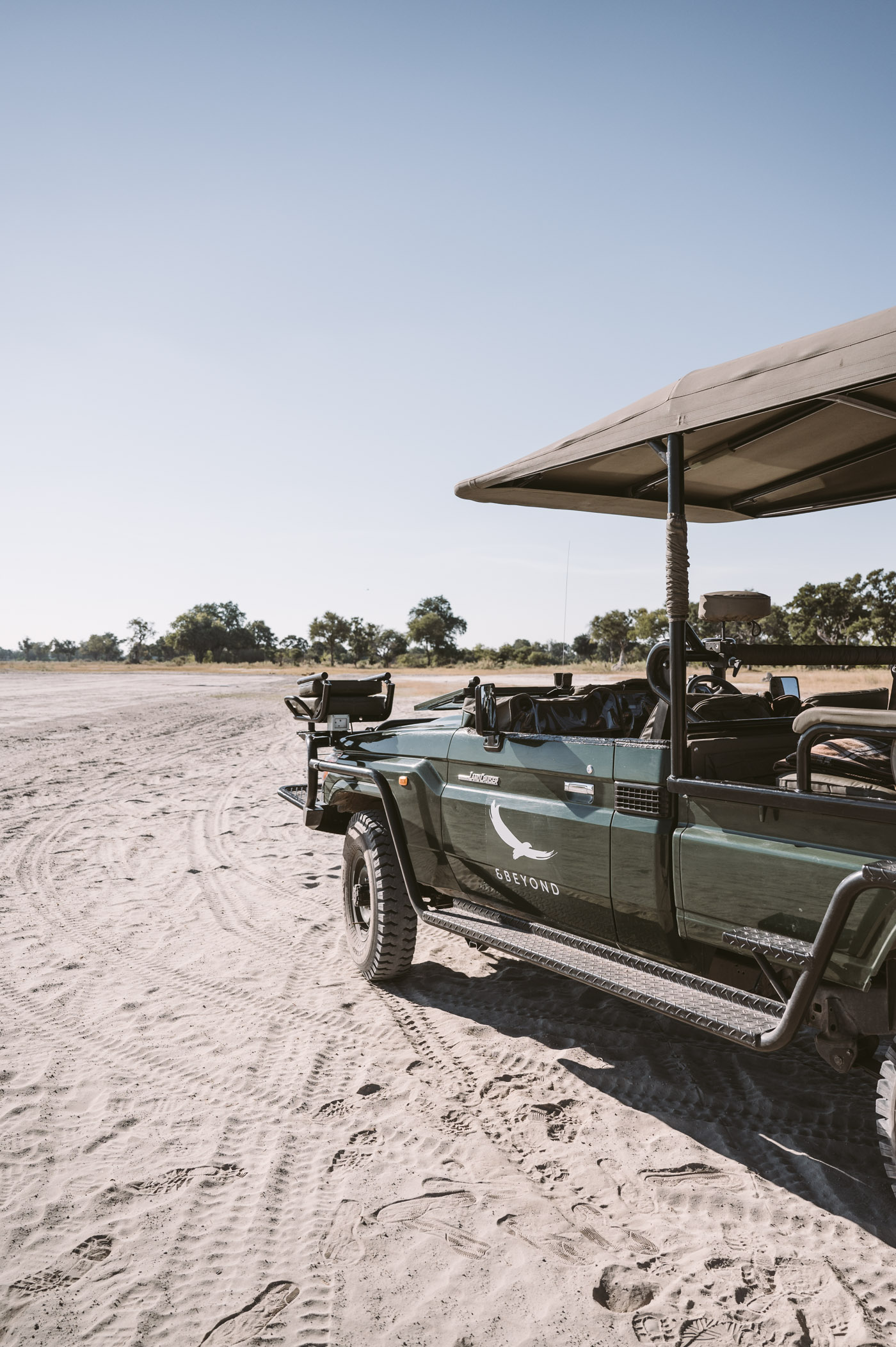 Pick-up at the airstrip of Xaranna in Botswana
