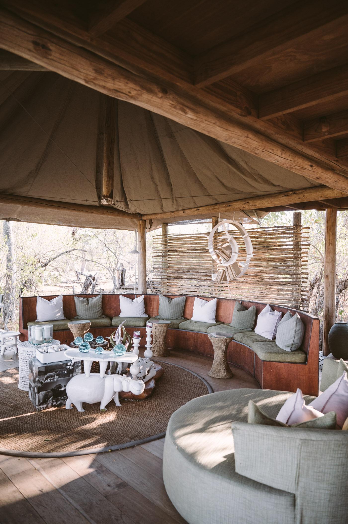 andBeyond Xaranna Okavango Delta Camp lounge area