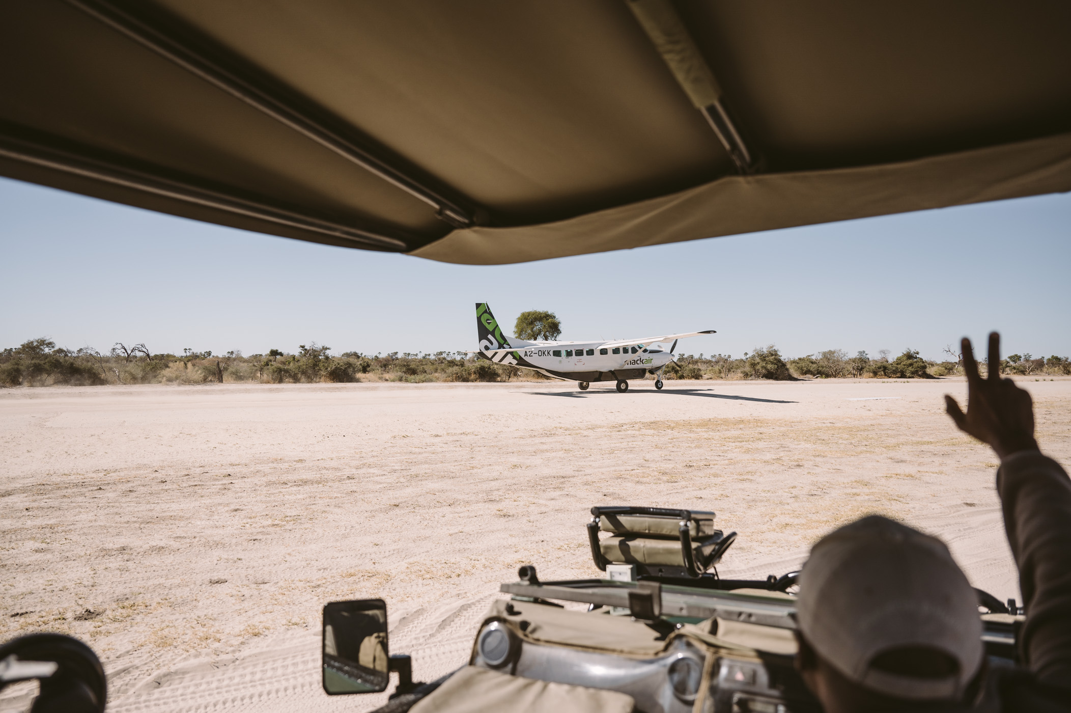 Getting picked up at the Sandibe airstrip in Botswana