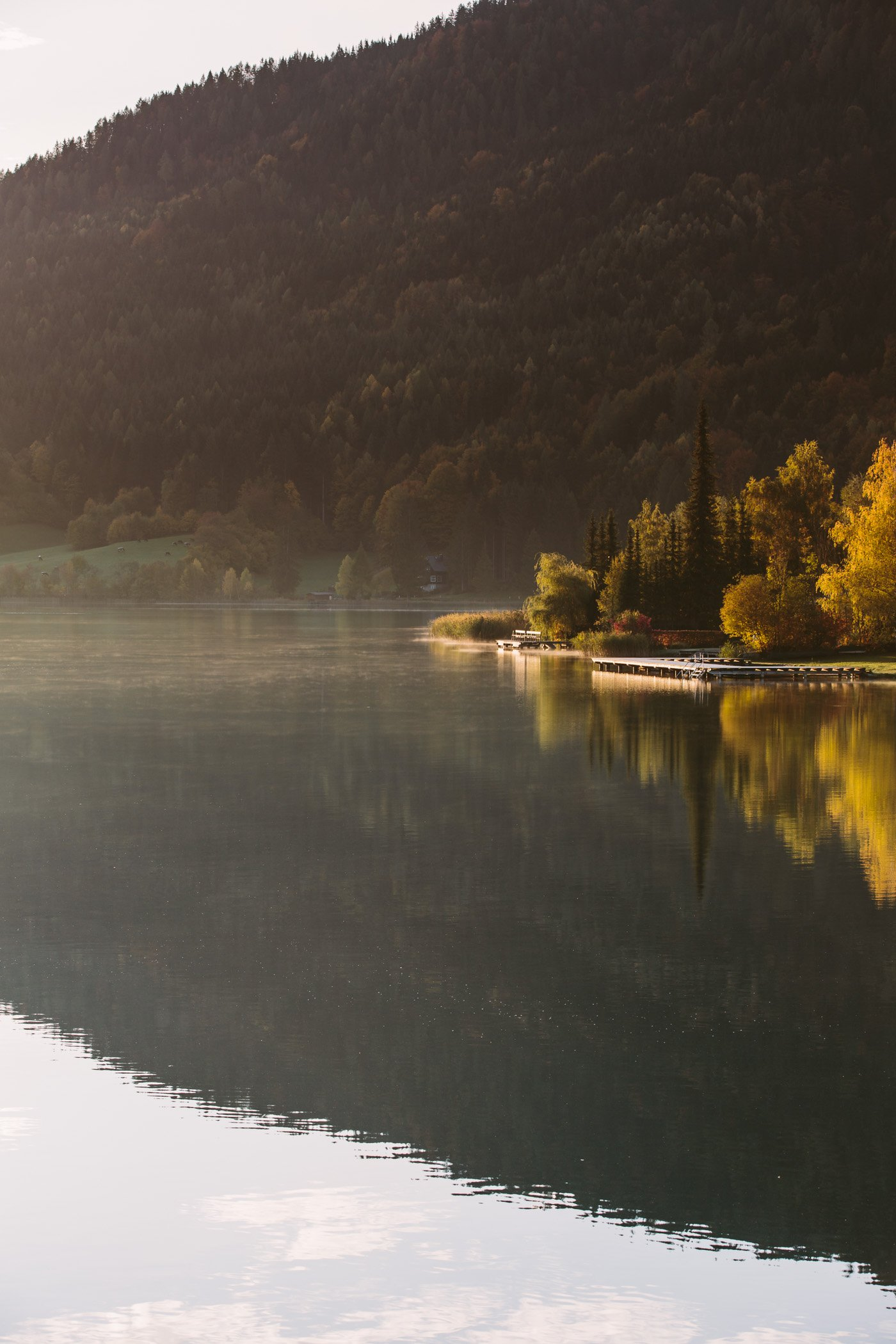 Lake Weissensee at sunrise, in Carinthia Austria