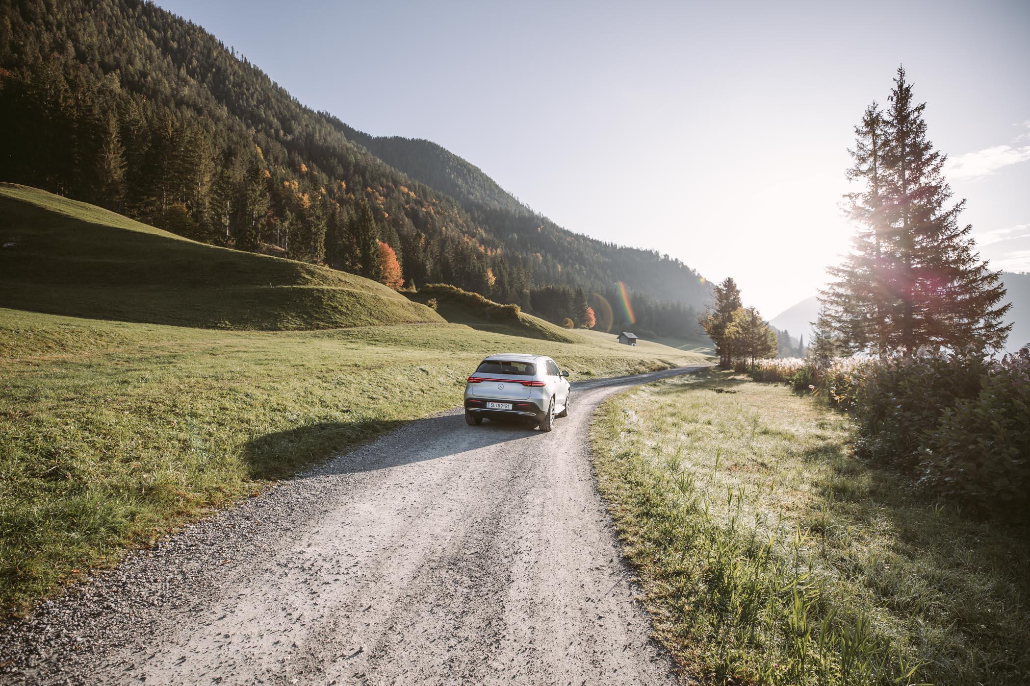 Mercedes EQC at Lake Weissensee at sunrise, in Carinthia Austria