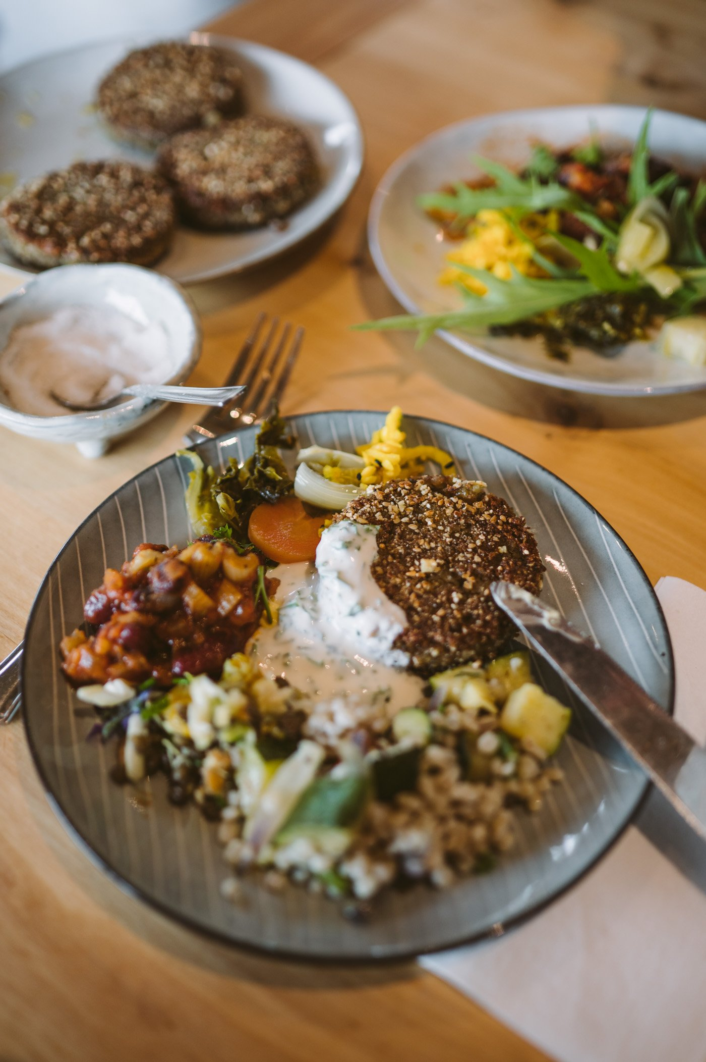 Vegetarian lunch at Vallanes Organic Farm in Iceland