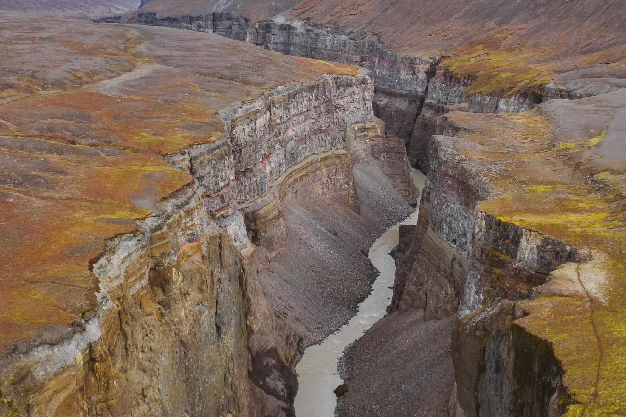 Hafrahvammagljúfur canyon near Kárahnjúkavirkjun hydropower plant in Iceland