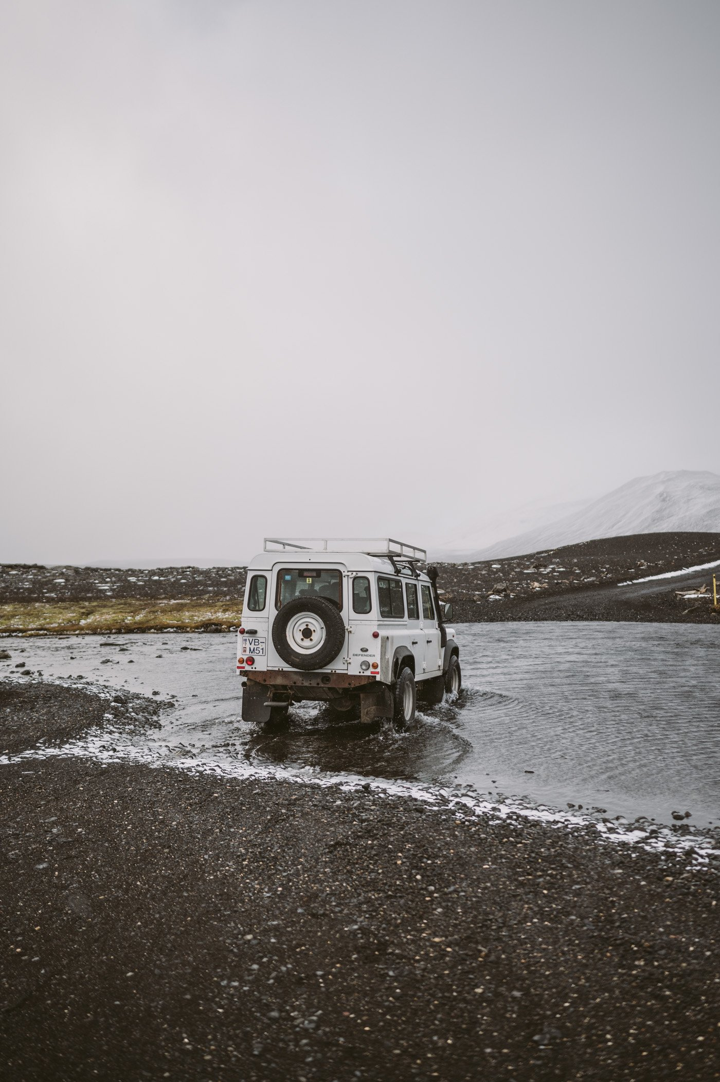 River crossing in the highlands of Iceland