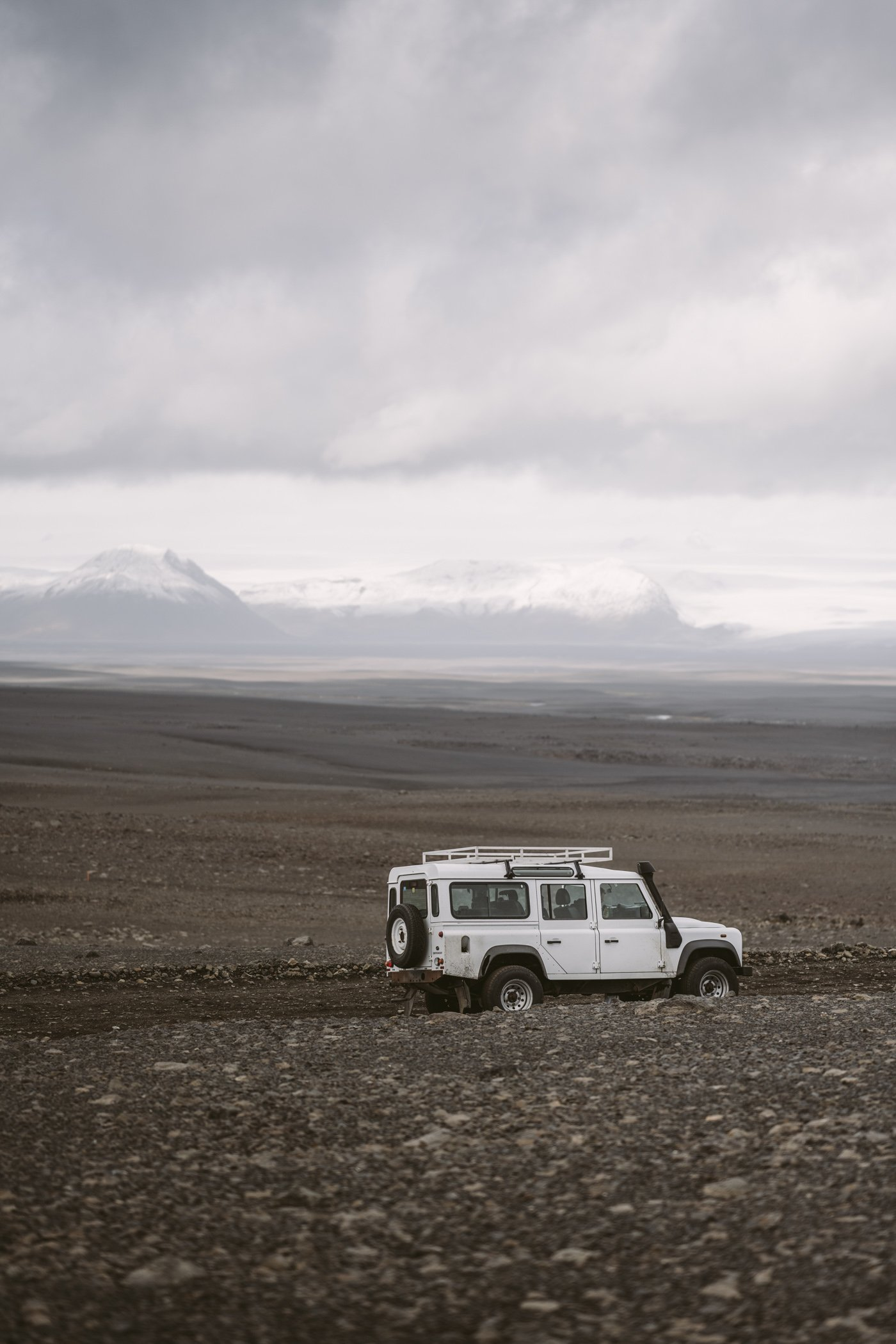 Our Landrover Defender in the highlands of Iceland