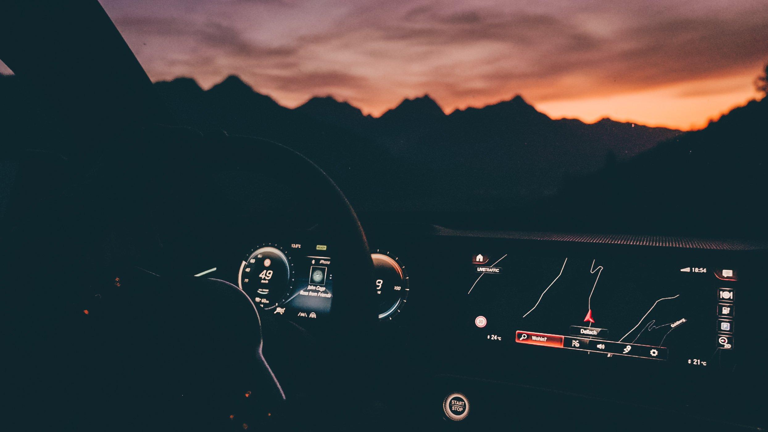 Mercedes EQC at sunrise