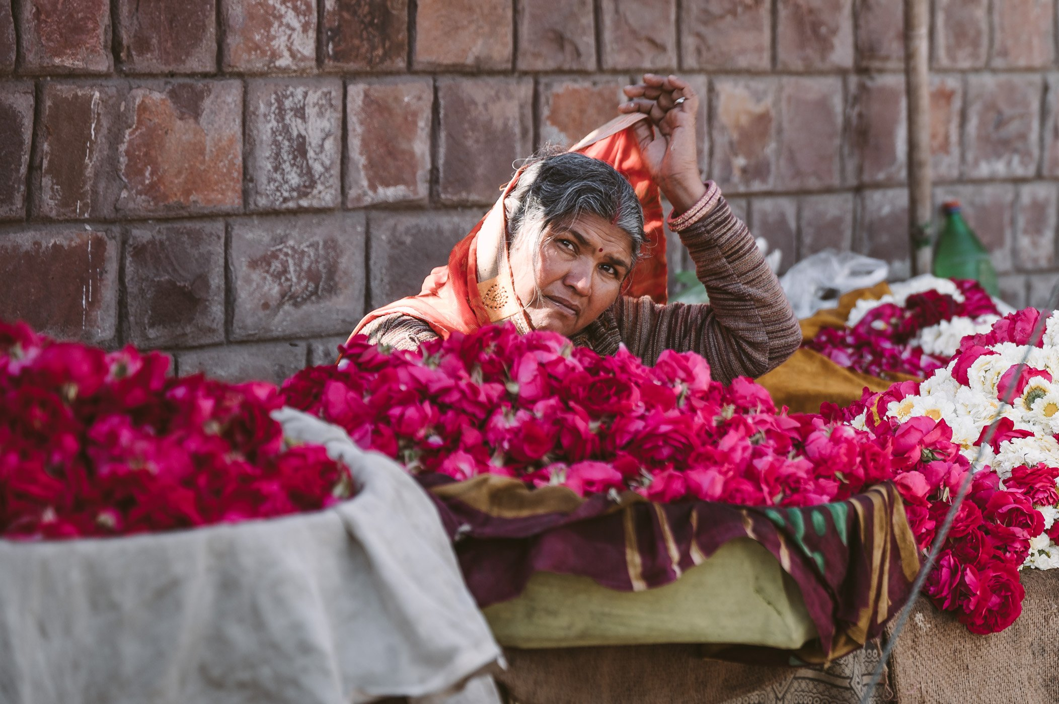 Roses at a street stall in Rajasthan India