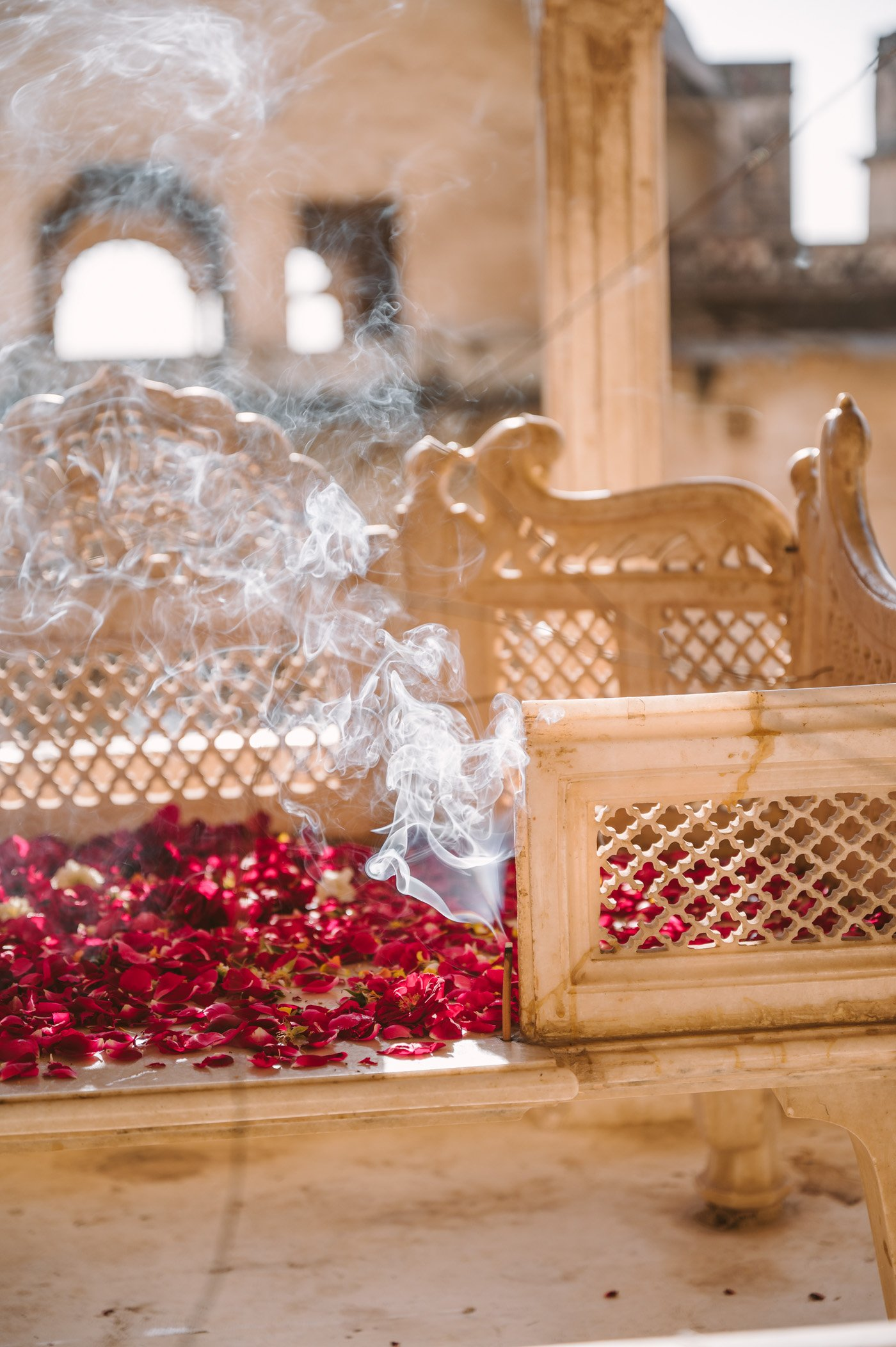 Incense and rose offering in a temple in Rajasthan