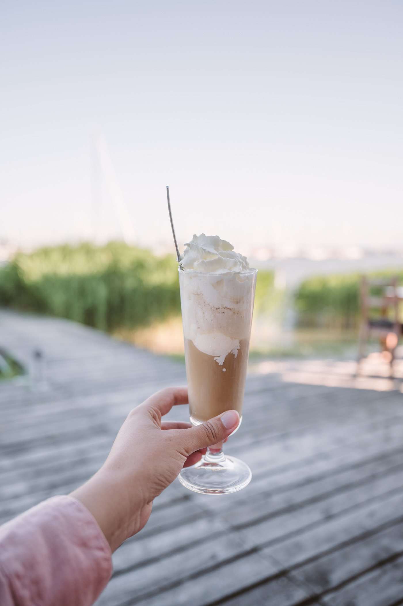 Iced coffee at Seejungfrau restaurant in Jois at Lake Neusiedlersee