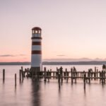 Sunset at the lighthouse in Podersdorf at lake Neusiedlersee