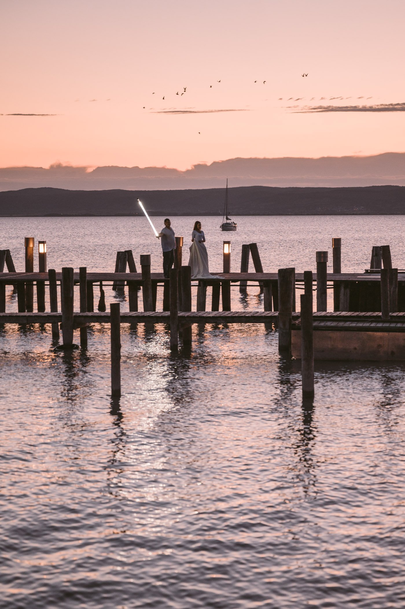 Lightpainting action in Podersdorf at the lighthouse during sunset
