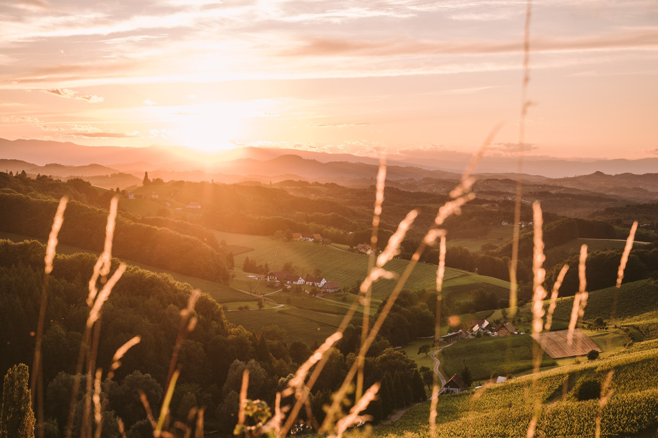 Southern Styria sunset view