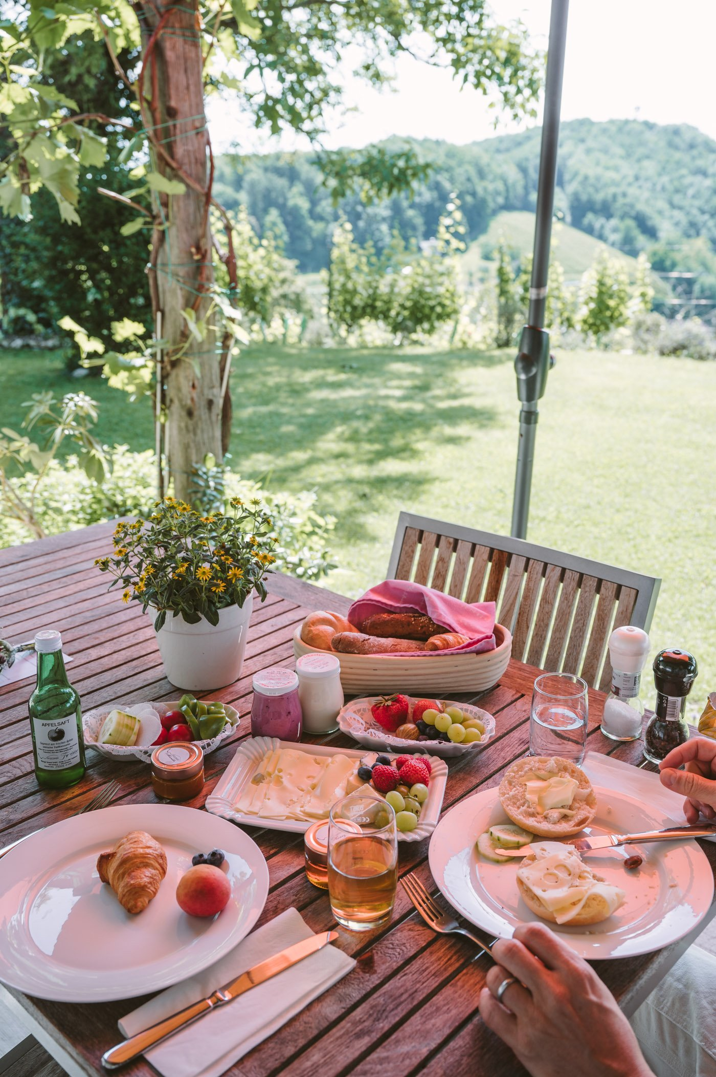 Breakfast at your private terrace at Winzarei