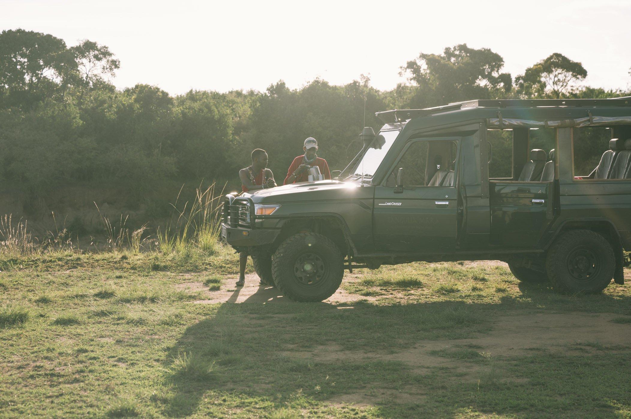 Sundowner at the Mara river with Tangulia Mara Camp in the Maasai Mara in Kenya