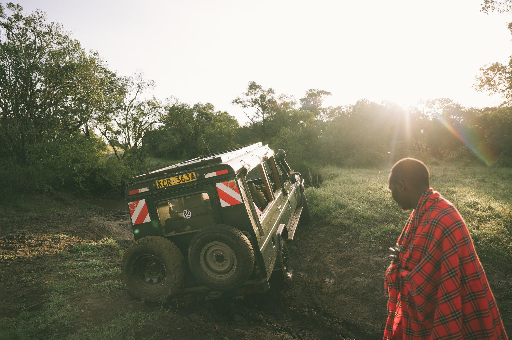 Stuck in the mud in the Maasai Mara in Kenya