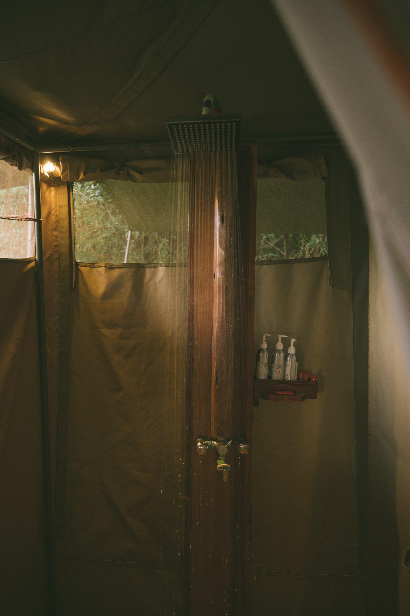 Shower in the Rooms at Tangulia Mara Camp in the Maasai Mara in Kenya