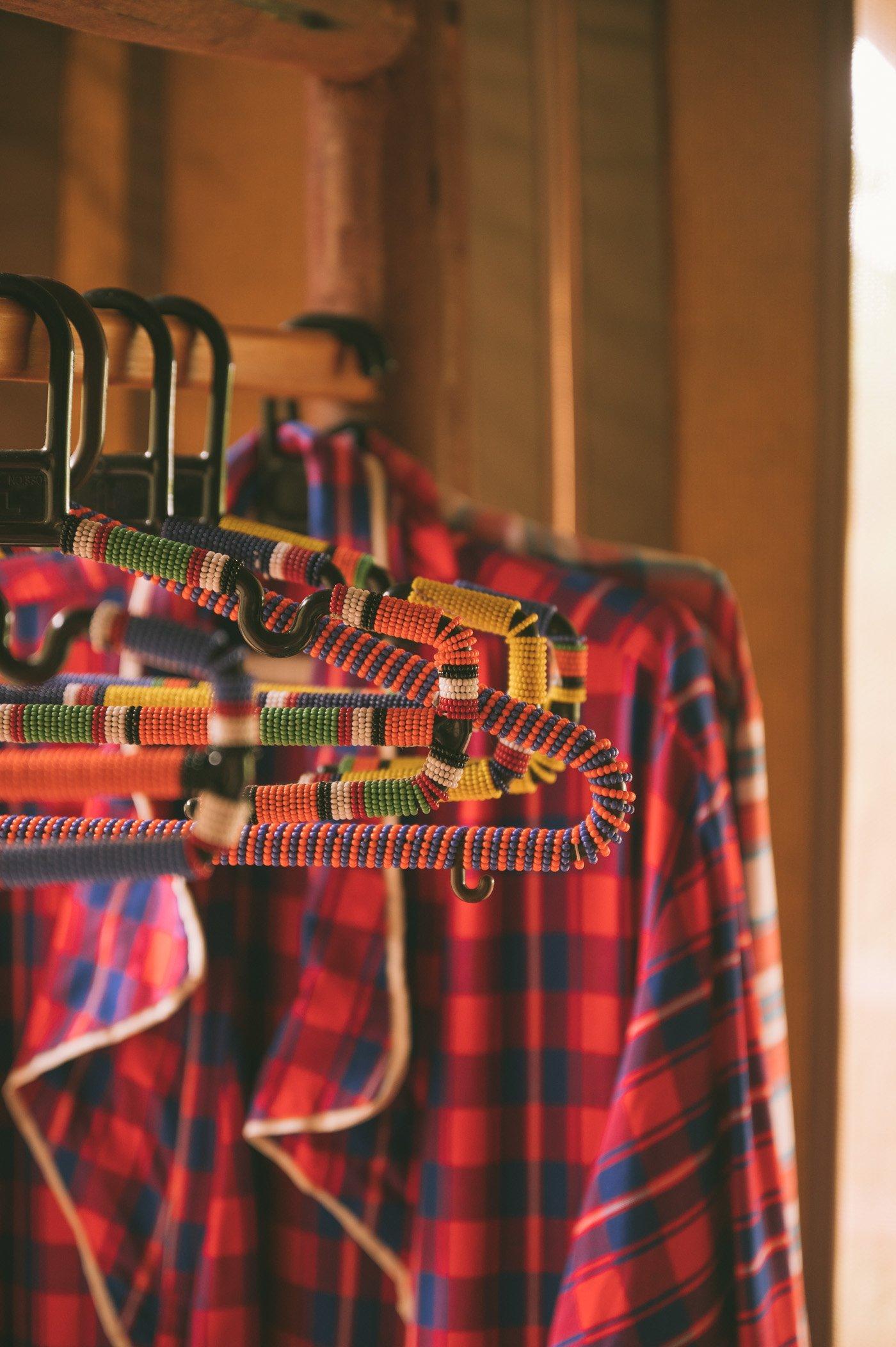 Clothing hangers at the Rooms at Tangulia Mara Camp in the Maasai Mara in Kenya
