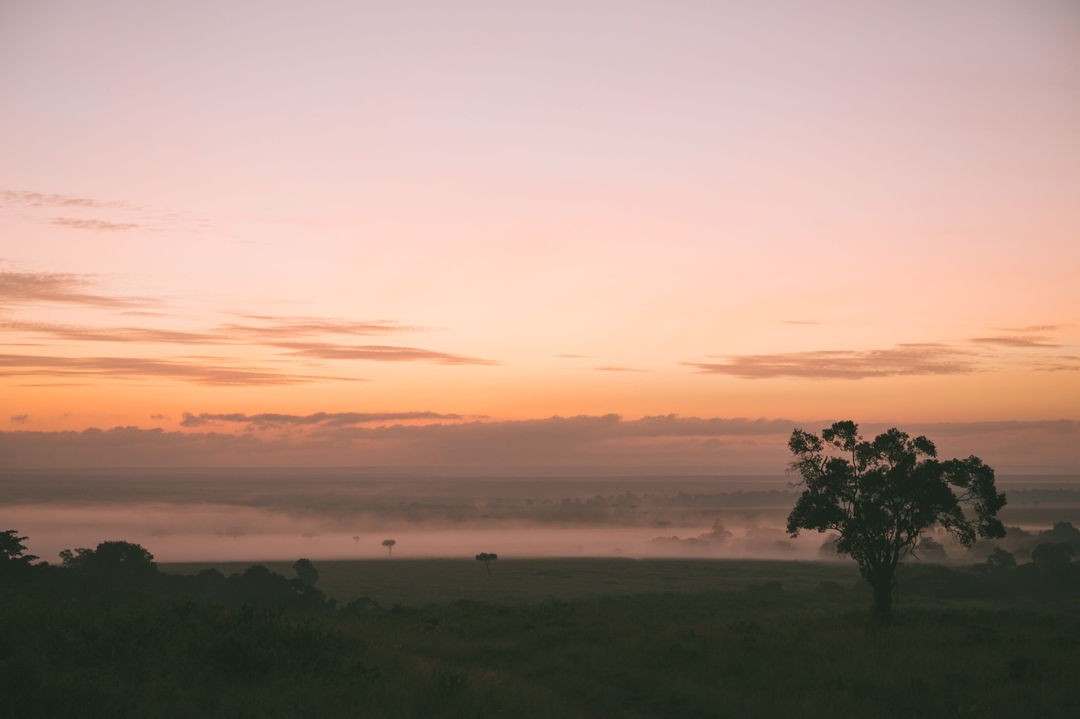 Sunrise as seen from the private concession from andBeyond Bateleur Camp Maasai Mara Kenya