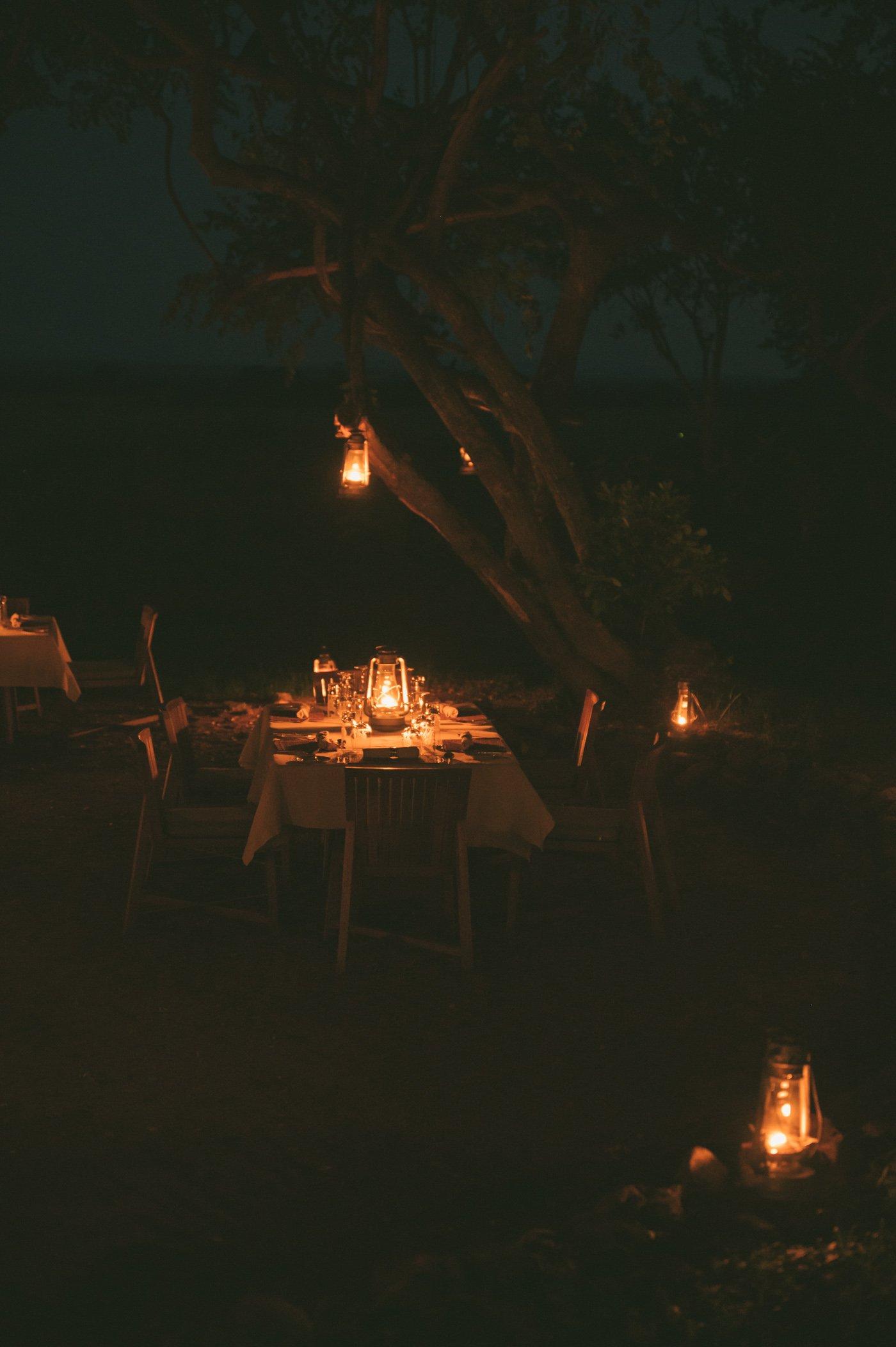 Candle-lit dinner at andBeyond Bateleur Camp Maasai Mara Kenya