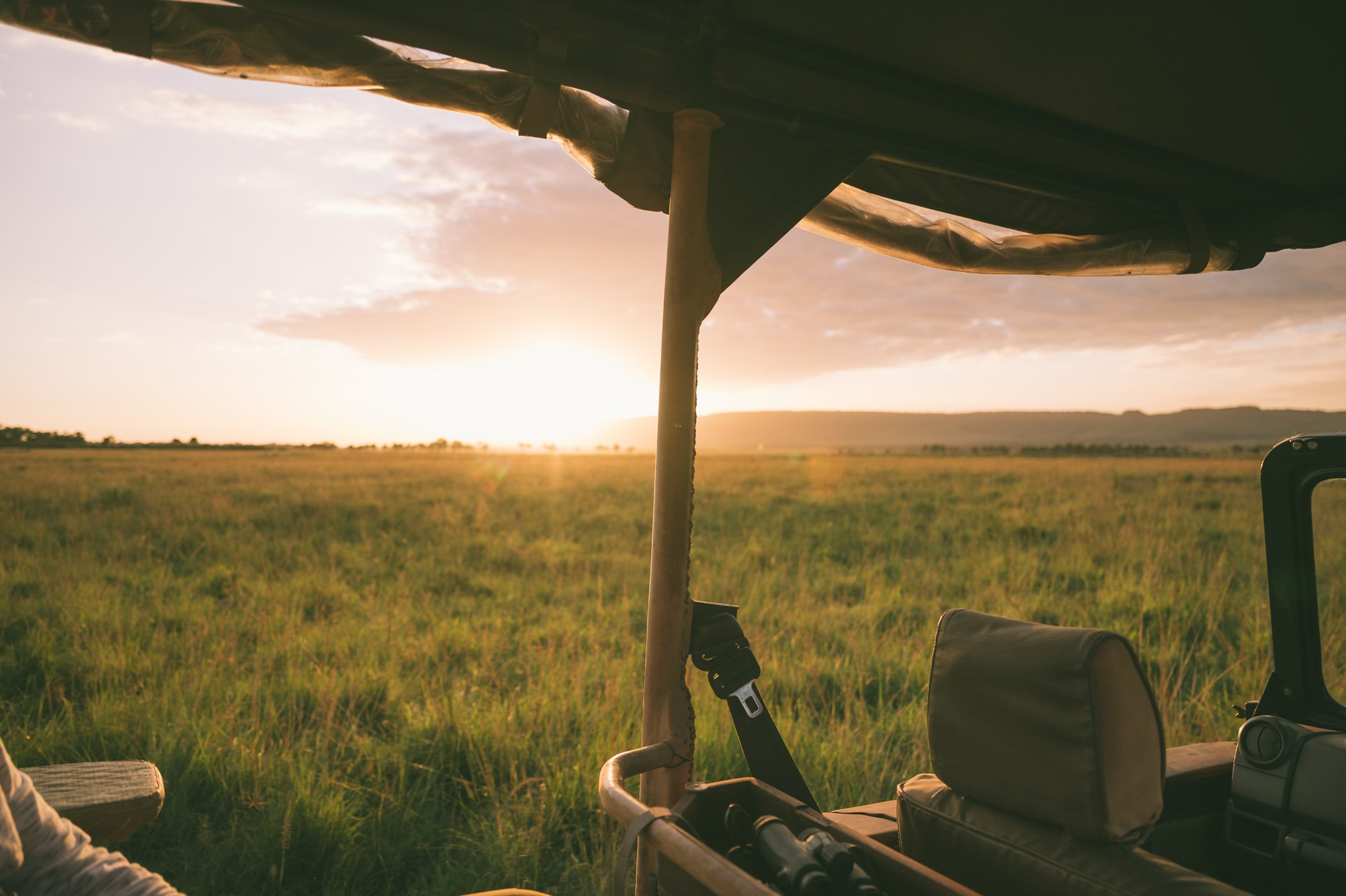 Sunset in the Maasai Mara in Kenya with andBeyond