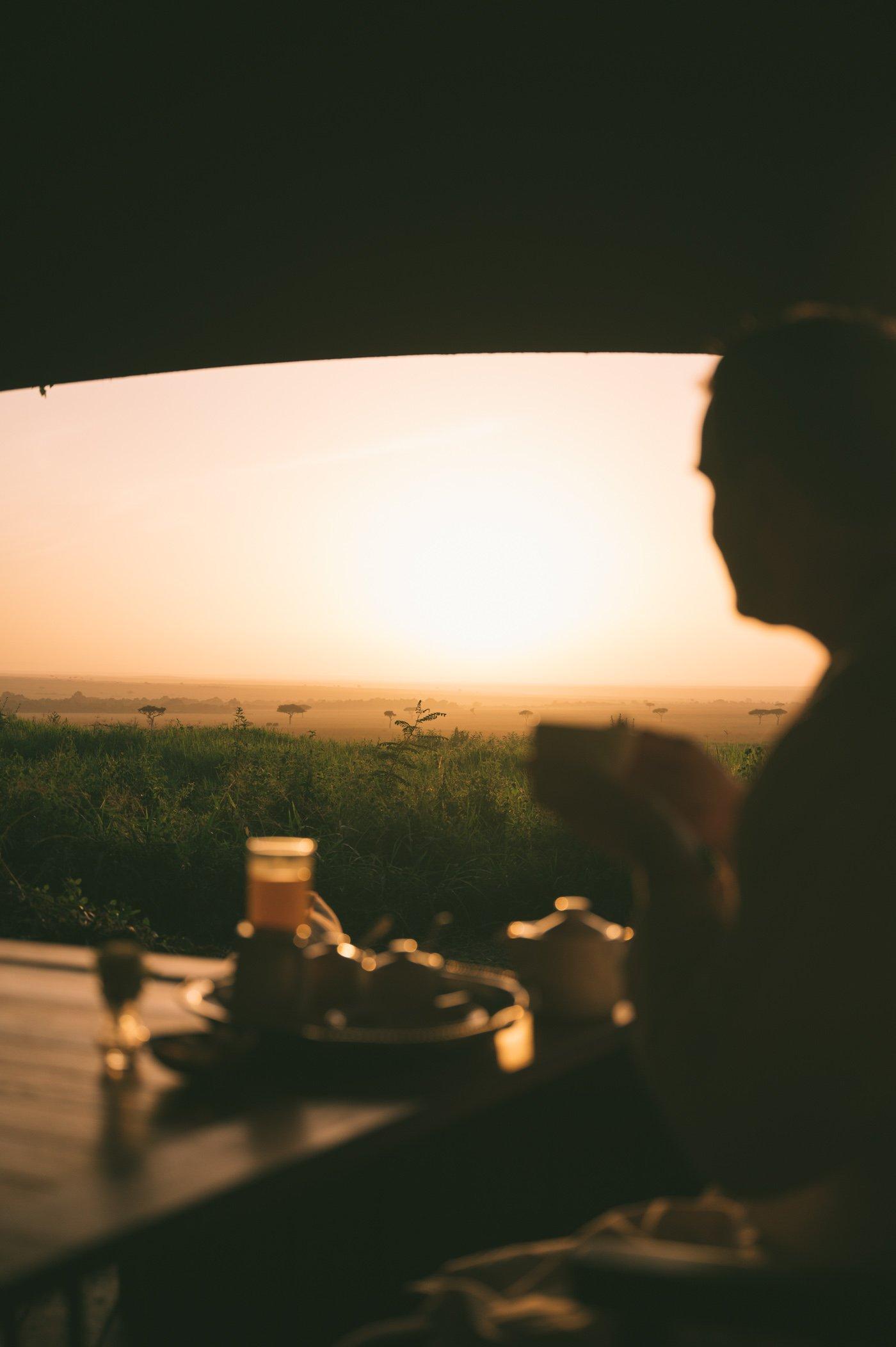 Wake-up call with tea service at andBeyond Bateleur Camp Maasai Mara Kenya