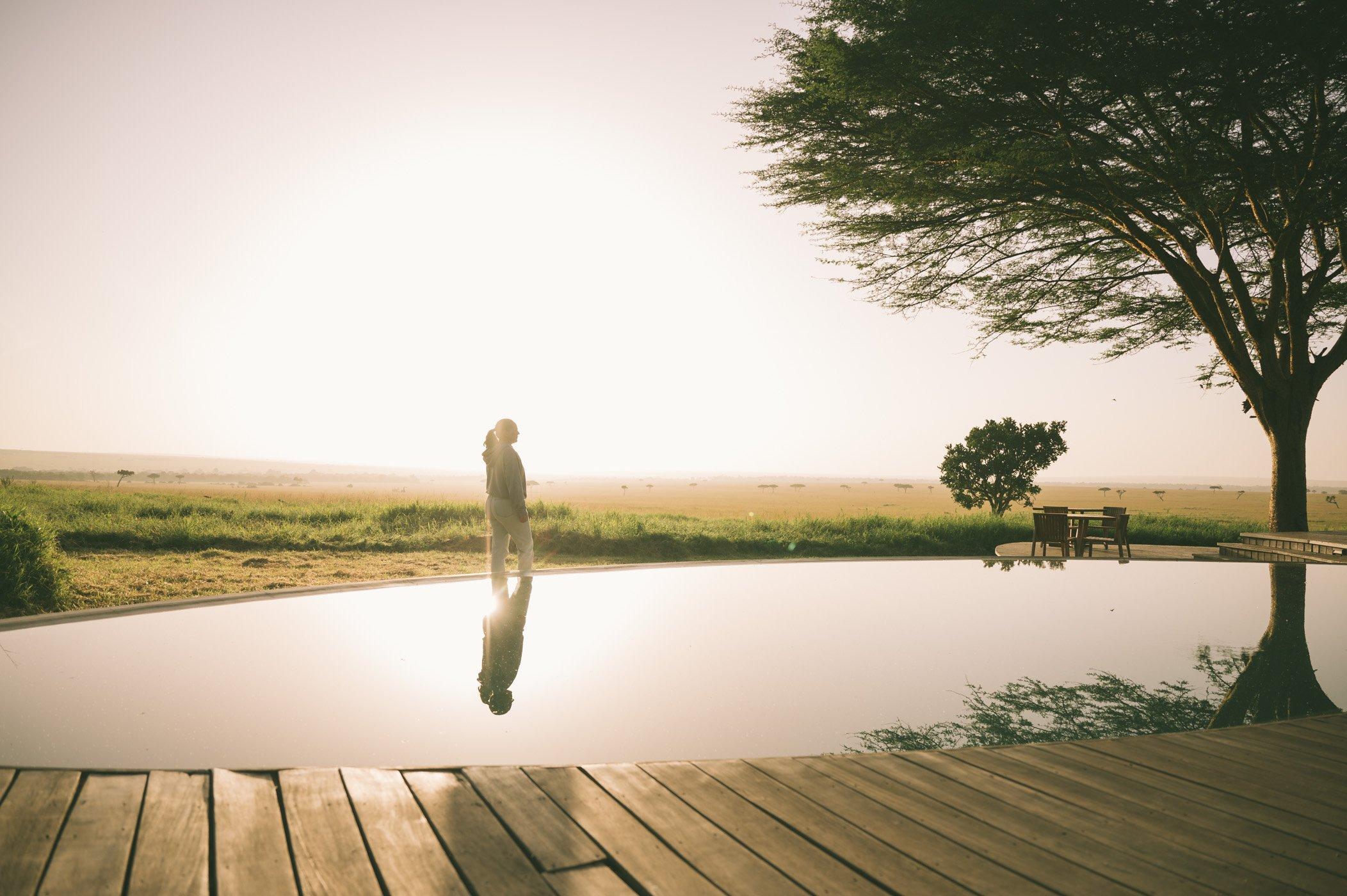 At the infinity pool of andBeyond Bateleur Camp Maasai Mara Kenya