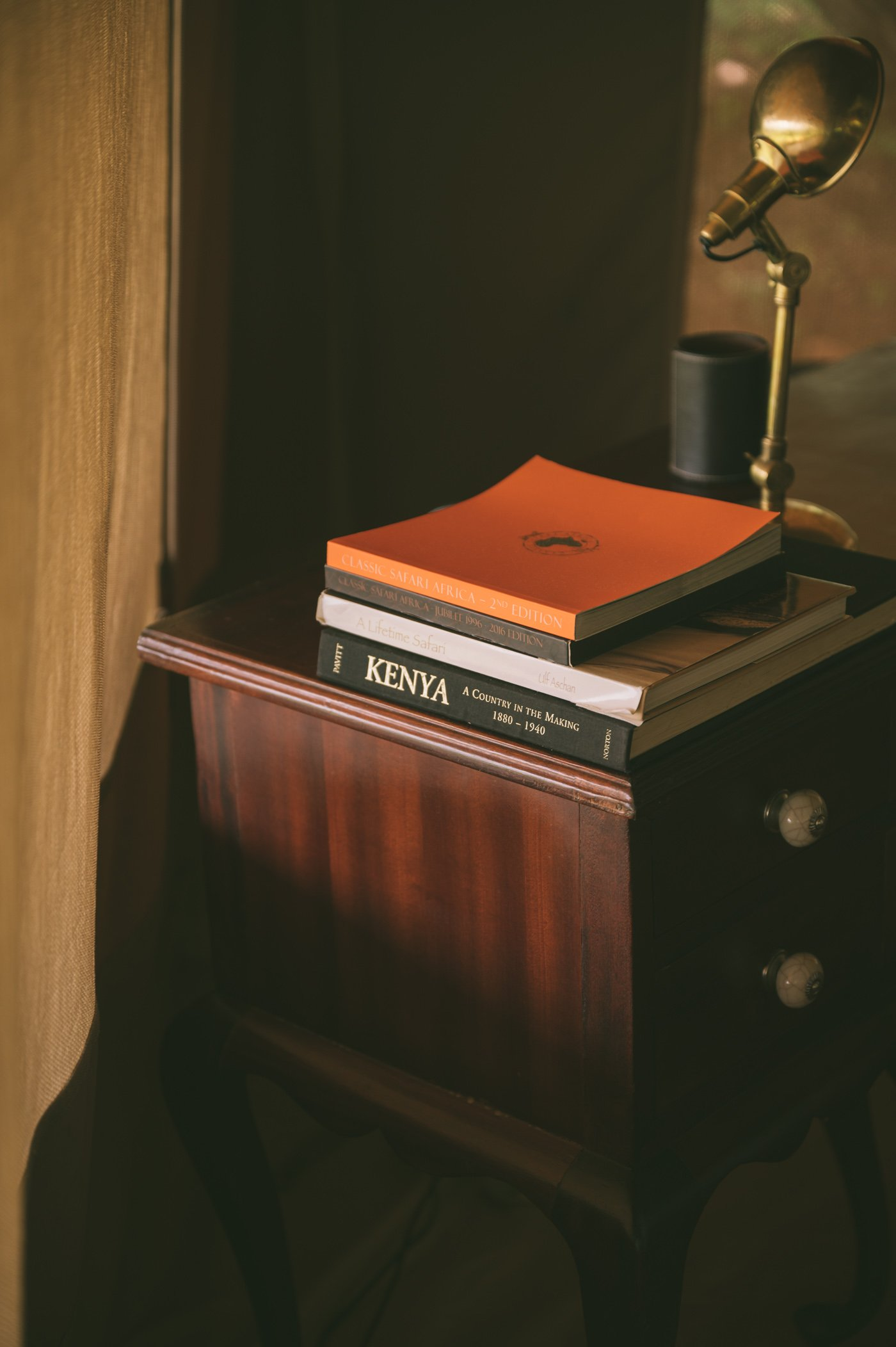 Nightstand at Cottar's 1920s camp in Kenya