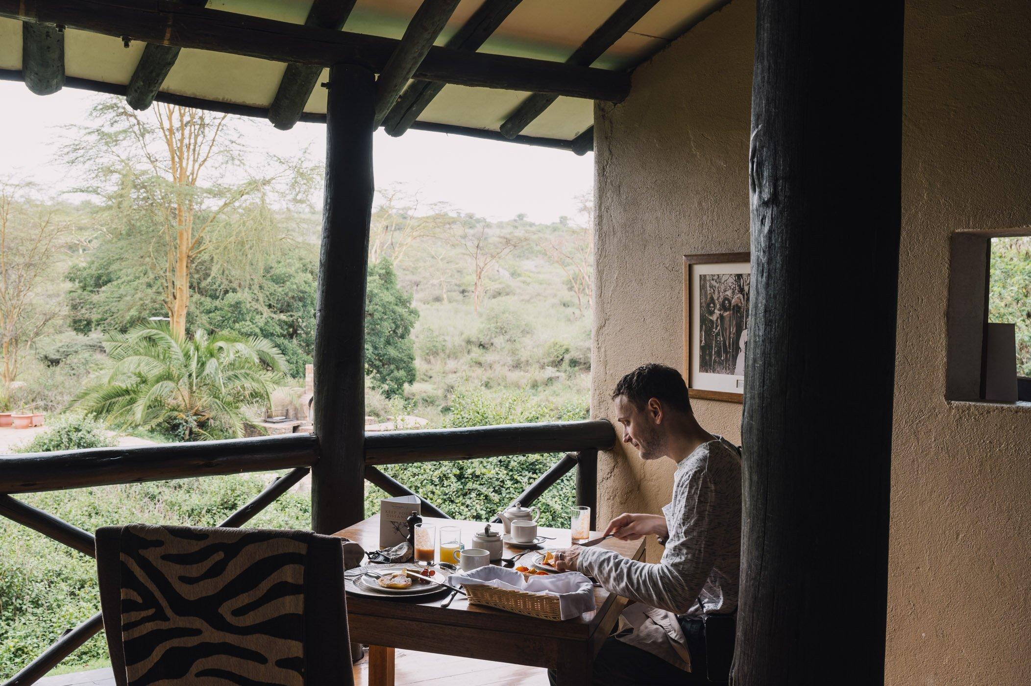 Breakfast at the Emakoko lodge in Nairobi Kenya