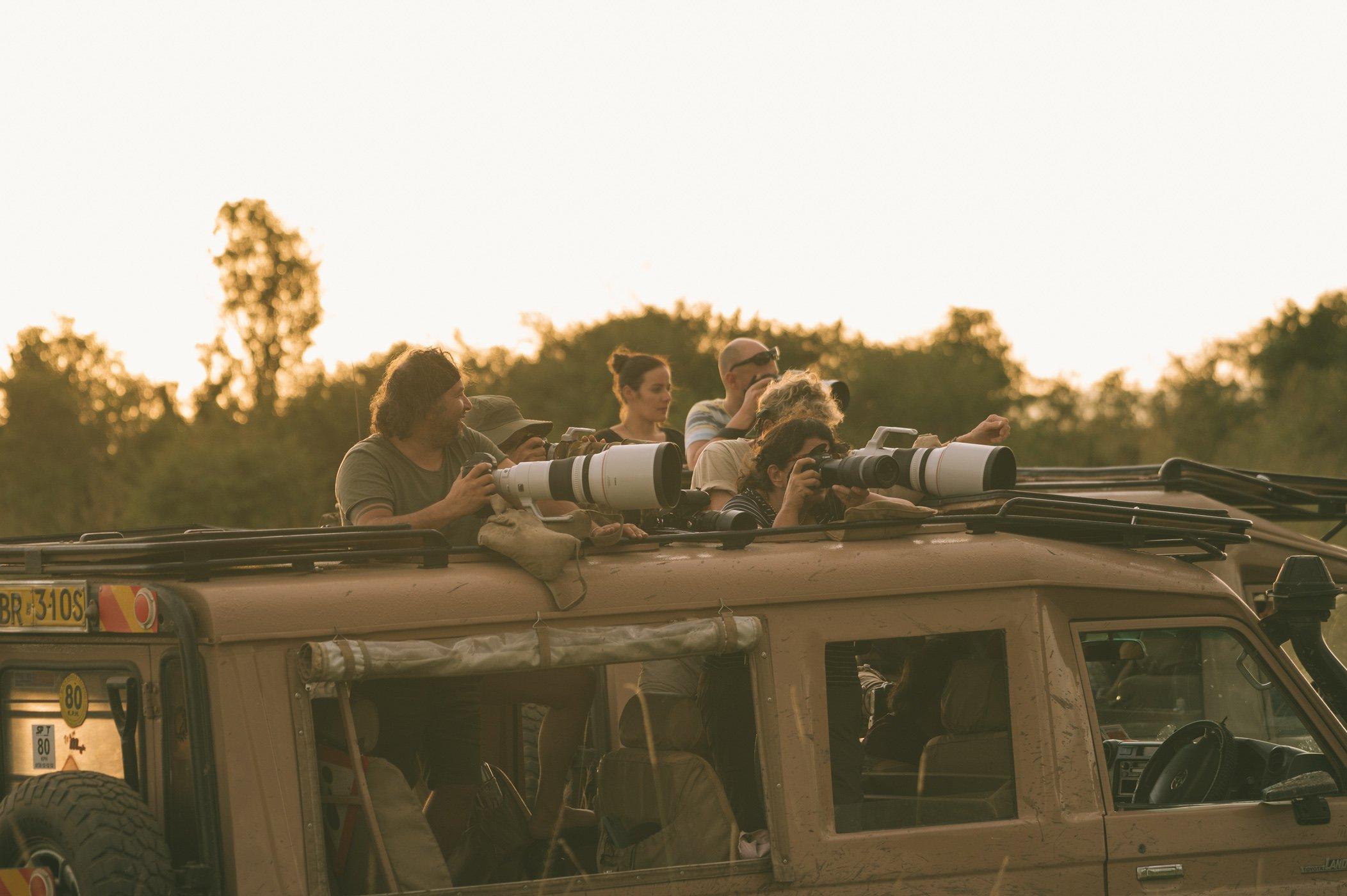 Safari vehicle in the Maasai Mara in Kenya