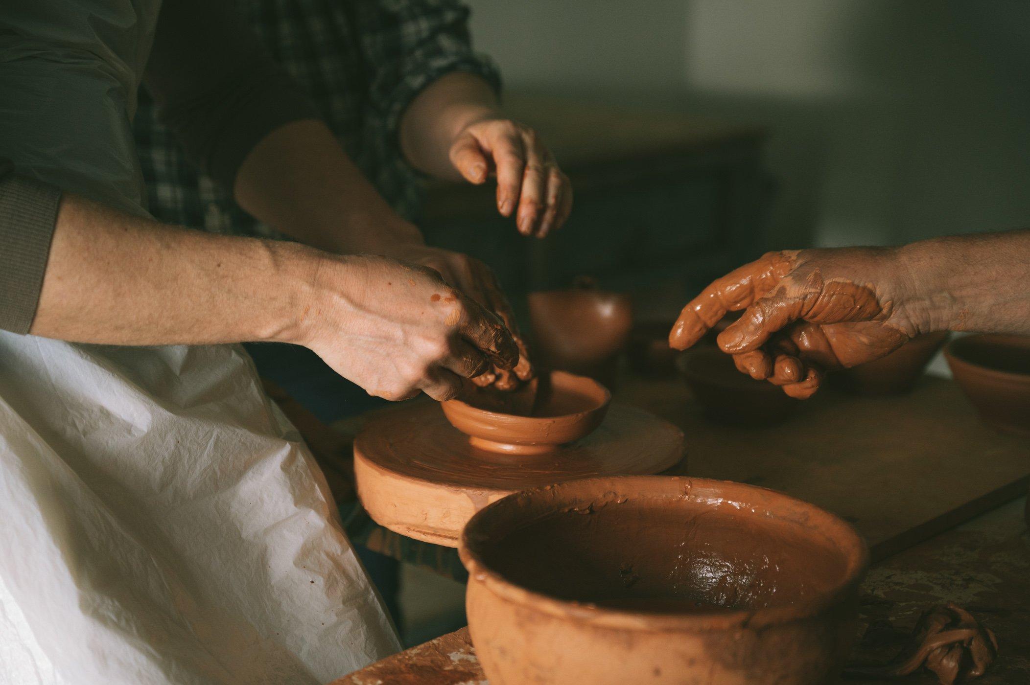 Pottery workshop at São Lourenço do Barrocal farmstay retreat in the Alentejo region of Portugal