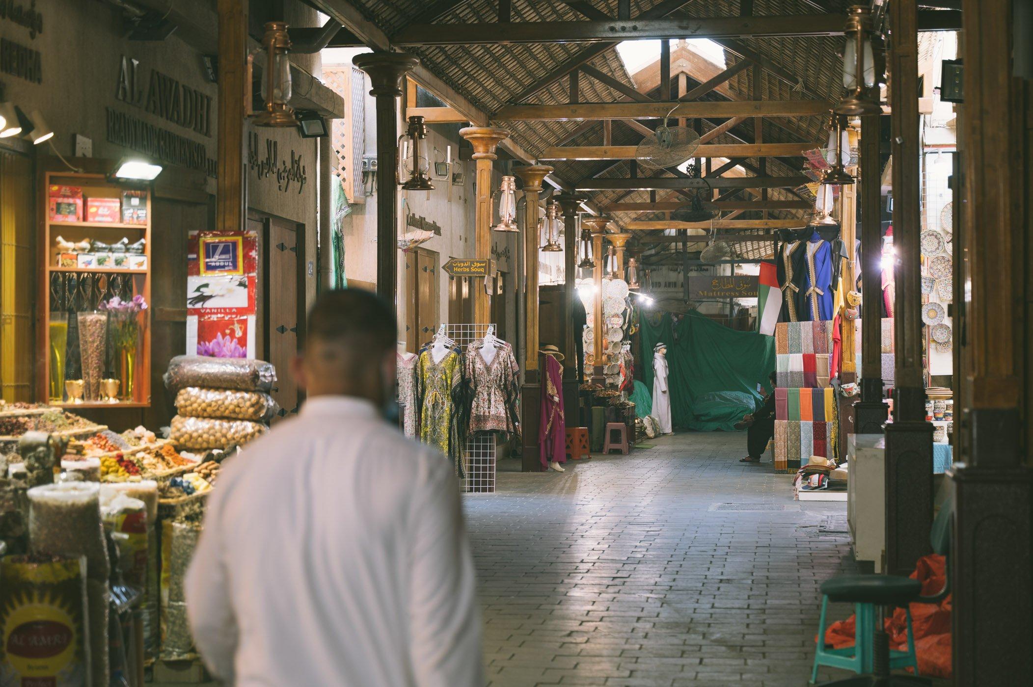 Quiet scene at the souk of Dubai